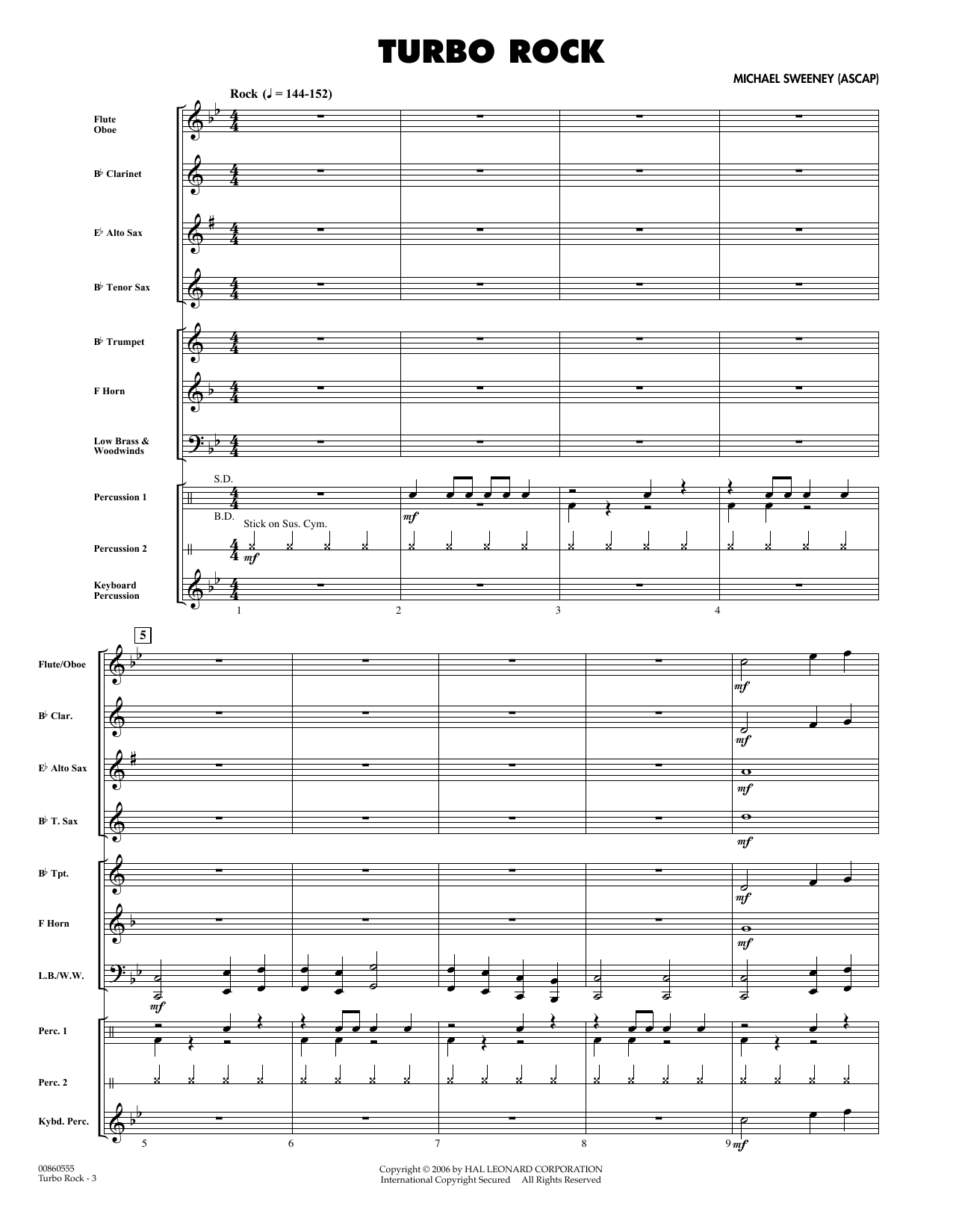 Turbo Rock (COMPLETE) sheet music for concert band by Michael Sweeney. Score Image Preview.