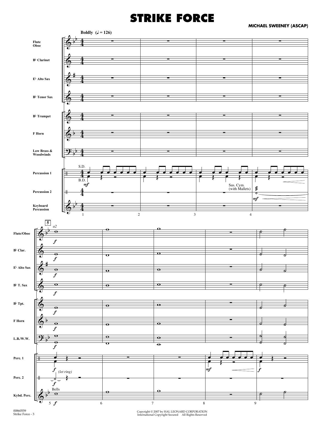 Strike Force (COMPLETE) sheet music for concert band by Michael Sweeney. Score Image Preview.