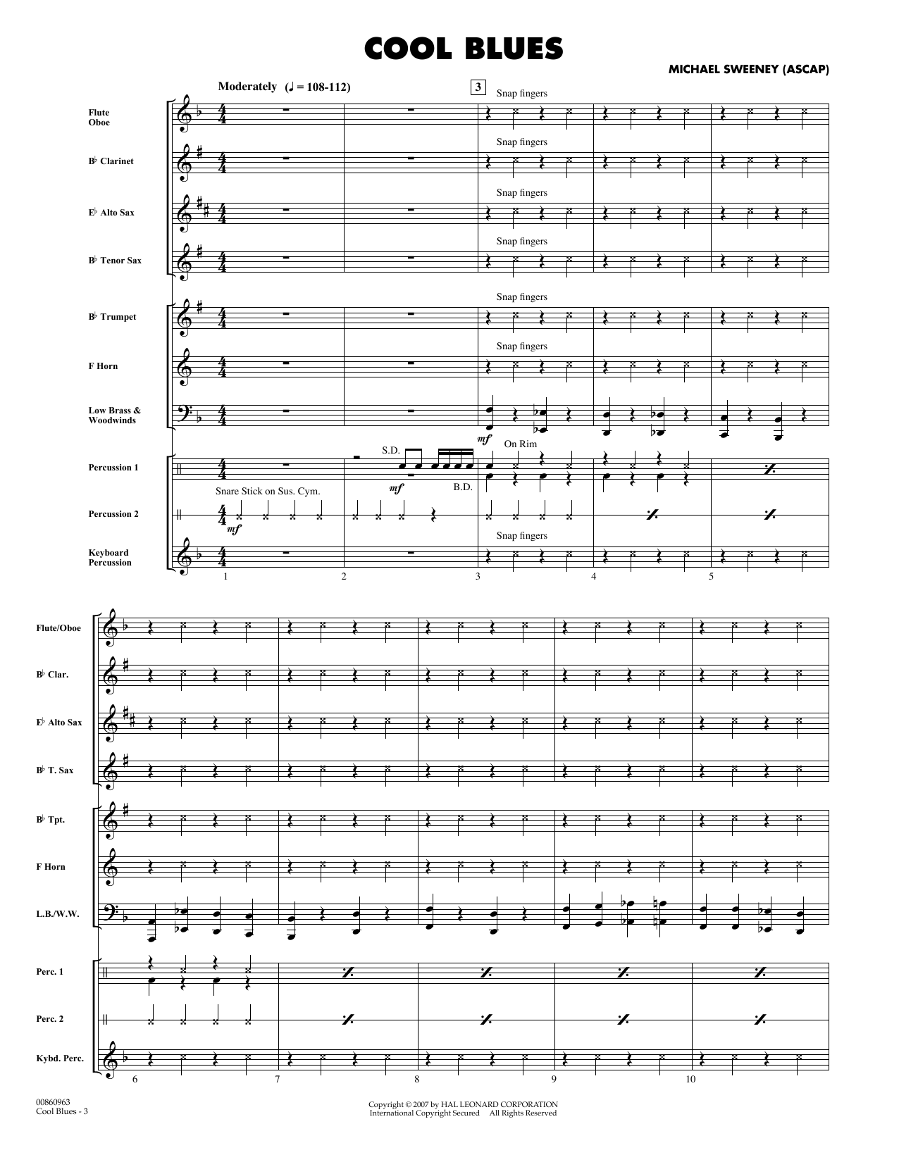 Cool Blues (COMPLETE) sheet music for concert band by Michael Sweeney. Score Image Preview.