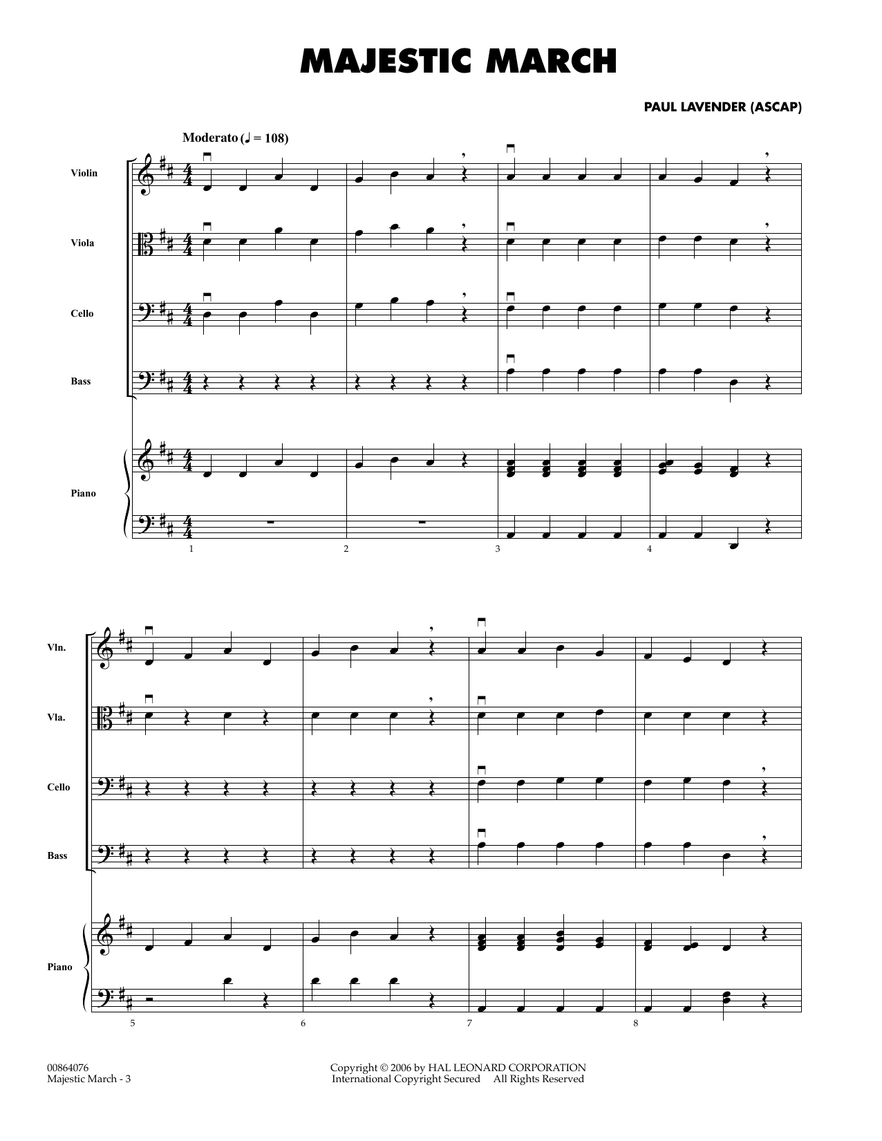 Majestic March (COMPLETE) sheet music for orchestra by Paul Lavender. Score Image Preview.