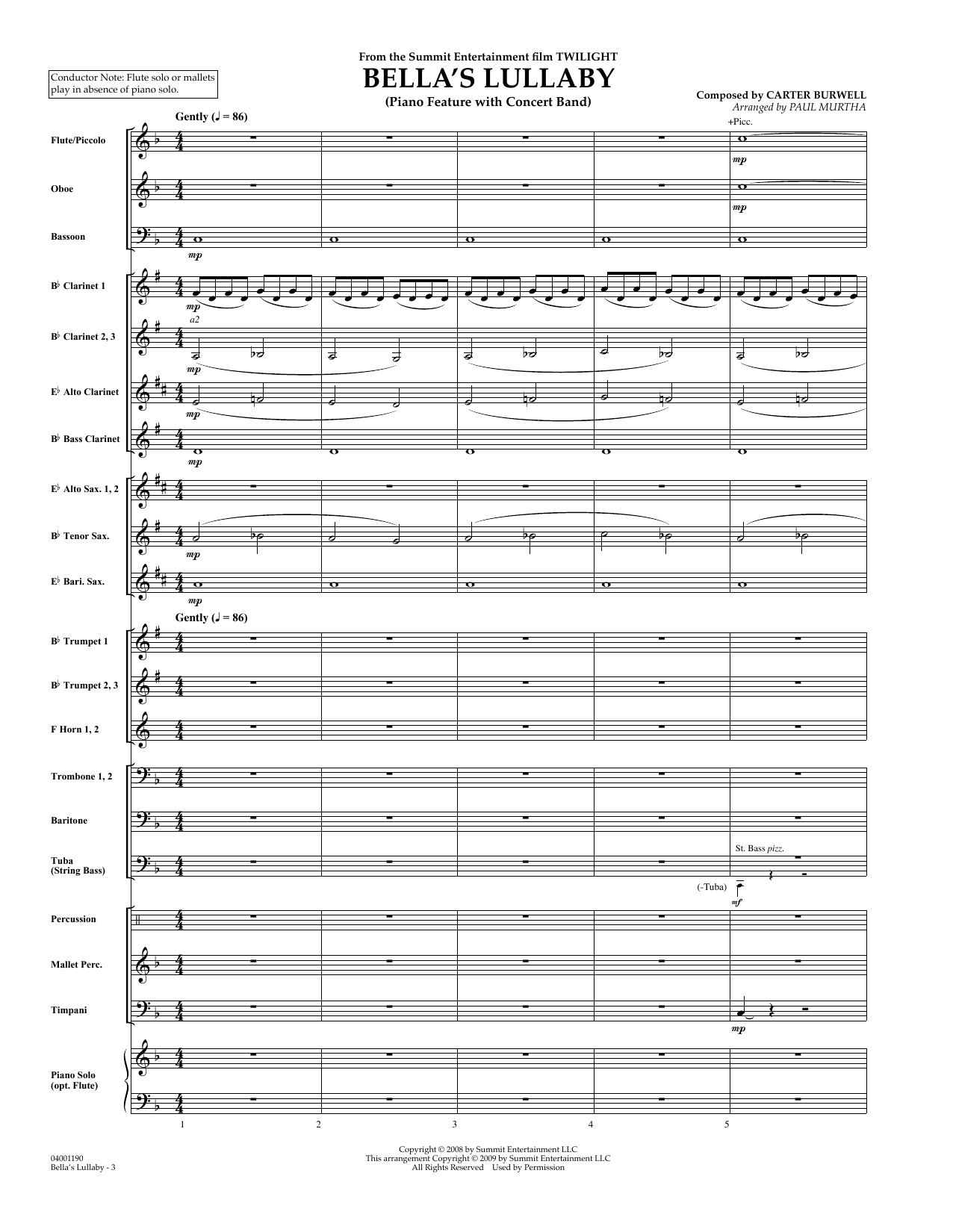 Bella's Lullaby (from Twilight) (COMPLETE) sheet music for concert band by Carter Burwell and Paul Murtha. Score Image Preview.