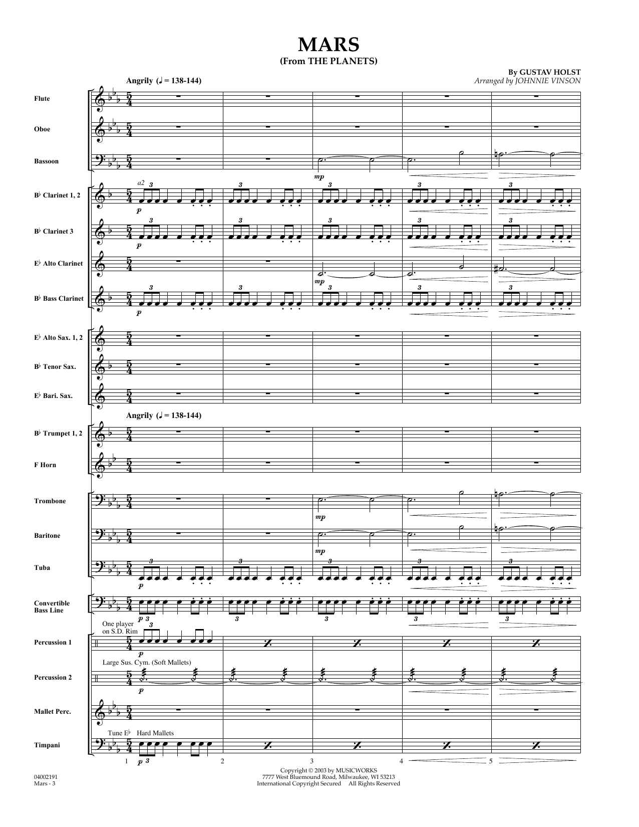 Mars (from The Planets) (COMPLETE) sheet music for concert band by Johnnie Vinson and Gustav Holst. Score Image Preview.