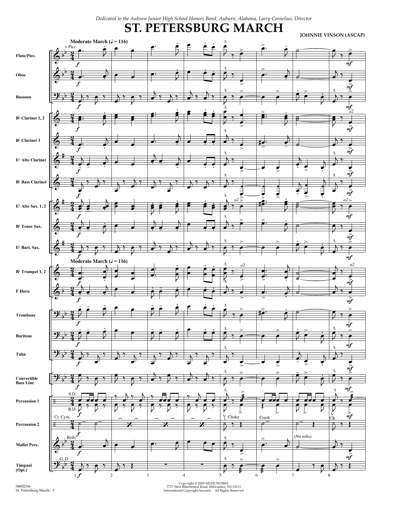 St. Petersburg March (COMPLETE) sheet music for concert band by Johnnie Vinson. Score Image Preview.