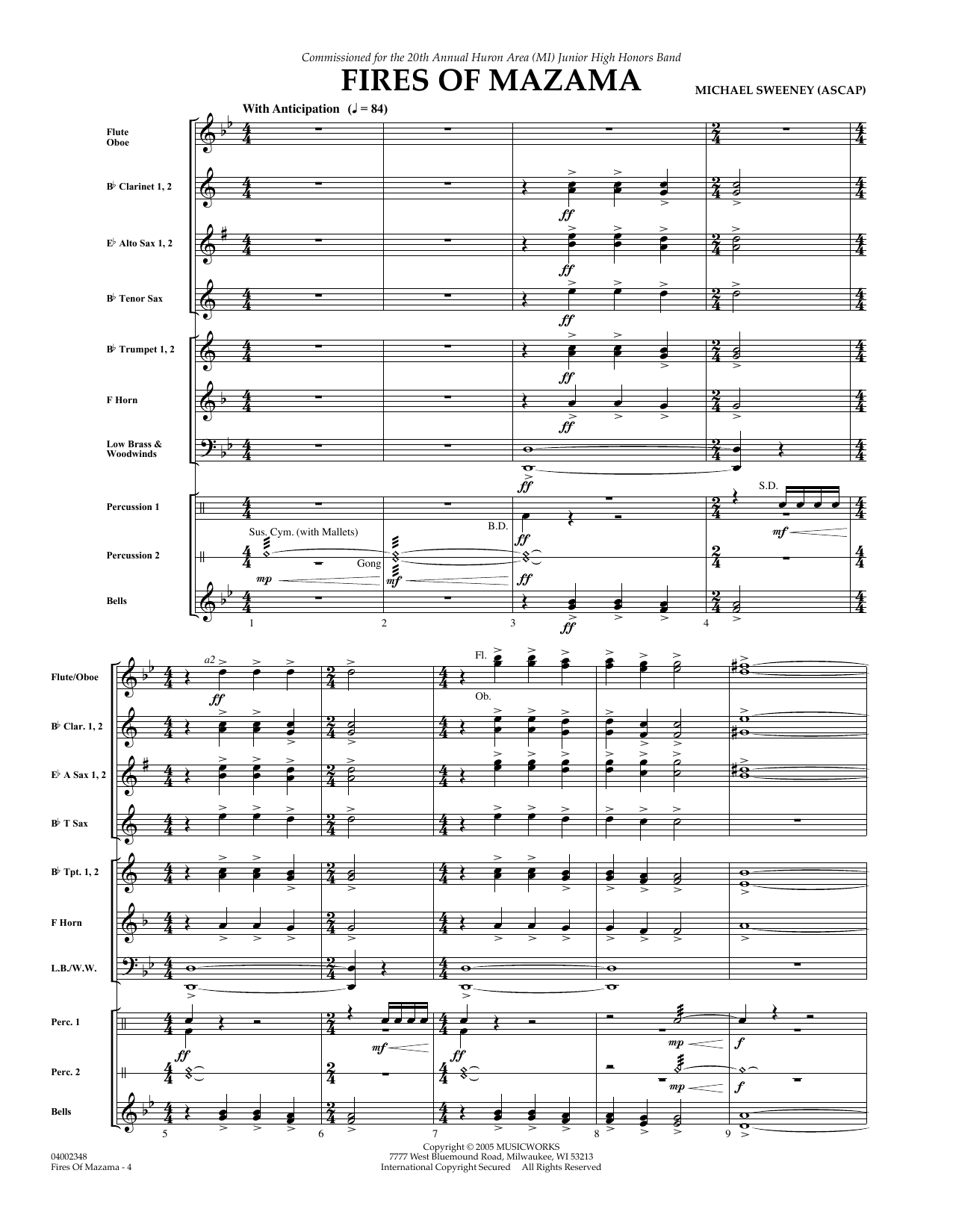 Fires of Mazama (COMPLETE) sheet music for concert band by Michael Sweeney. Score Image Preview.