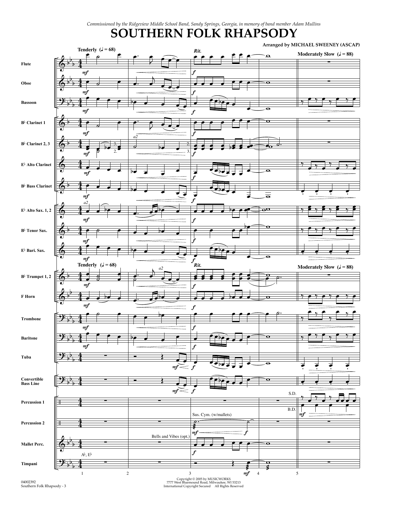 Southern Folk Rhapsody (COMPLETE) sheet music for concert band by Michael Sweeney. Score Image Preview.