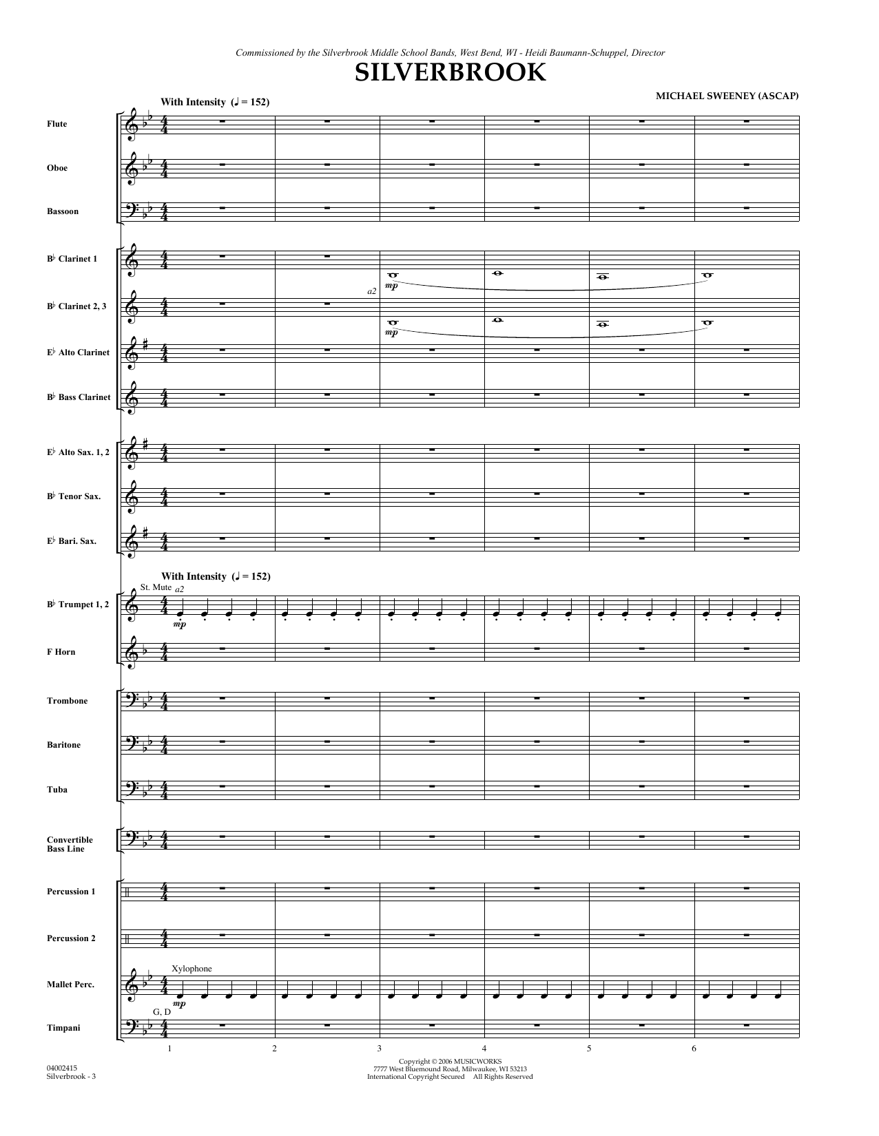 Silverbrook (COMPLETE) sheet music for concert band by Michael Sweeney. Score Image Preview.