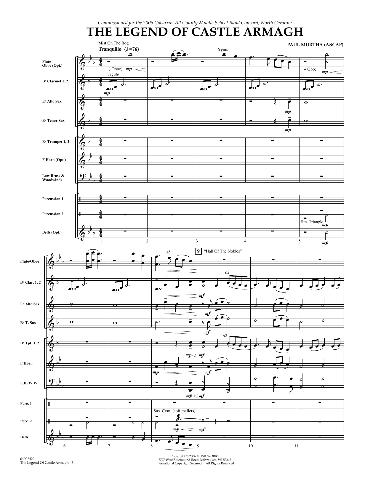 The Legend of Castle Armagh (COMPLETE) sheet music for concert band by Paul Murtha. Score Image Preview.