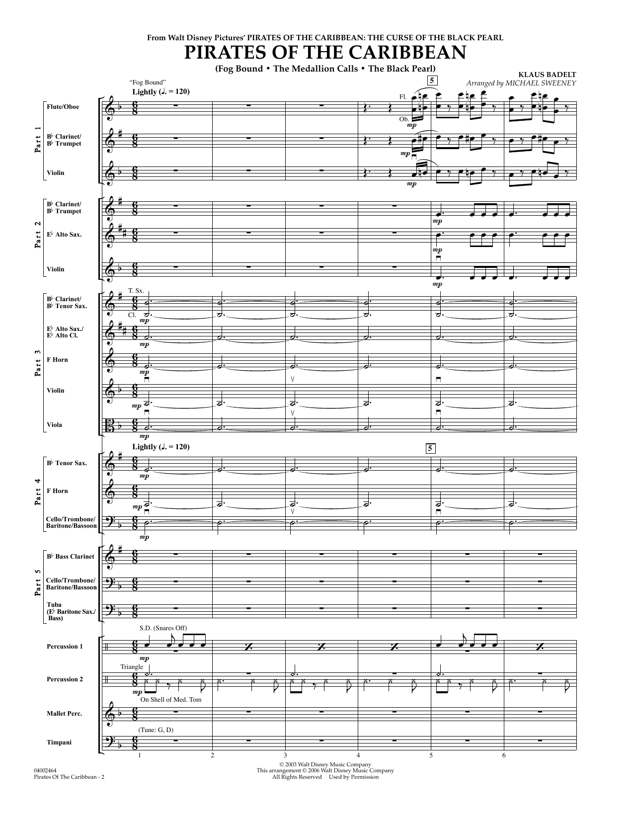 Pirates Of The Caribbean (Flex-Band) (COMPLETE) sheet music for concert band by Michael Sweeney and Klaus Badelt. Score Image Preview.