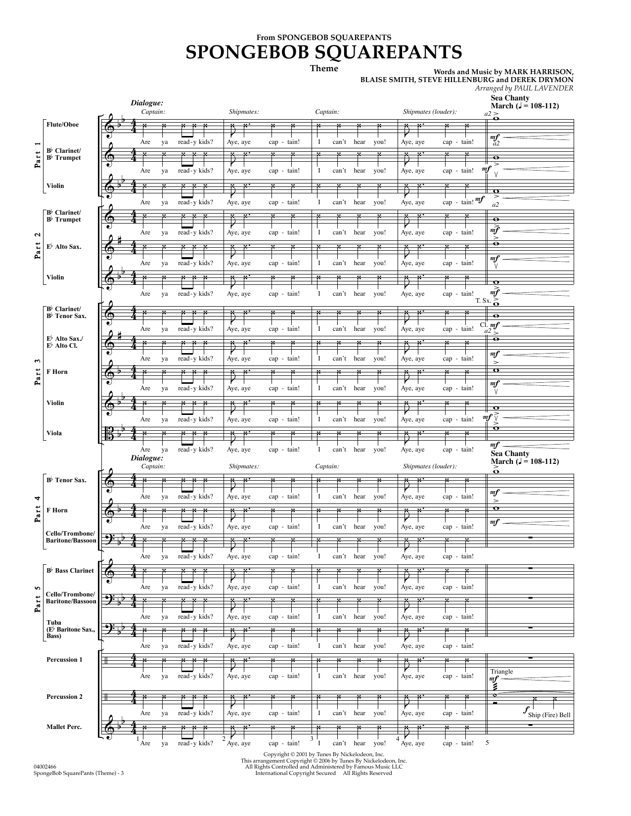 Spongebob Squarepants  (Flex-Band) (COMPLETE) sheet music for concert band by Paul Lavender, Mark Harrison and Steve Hillenburg. Score Image Preview.