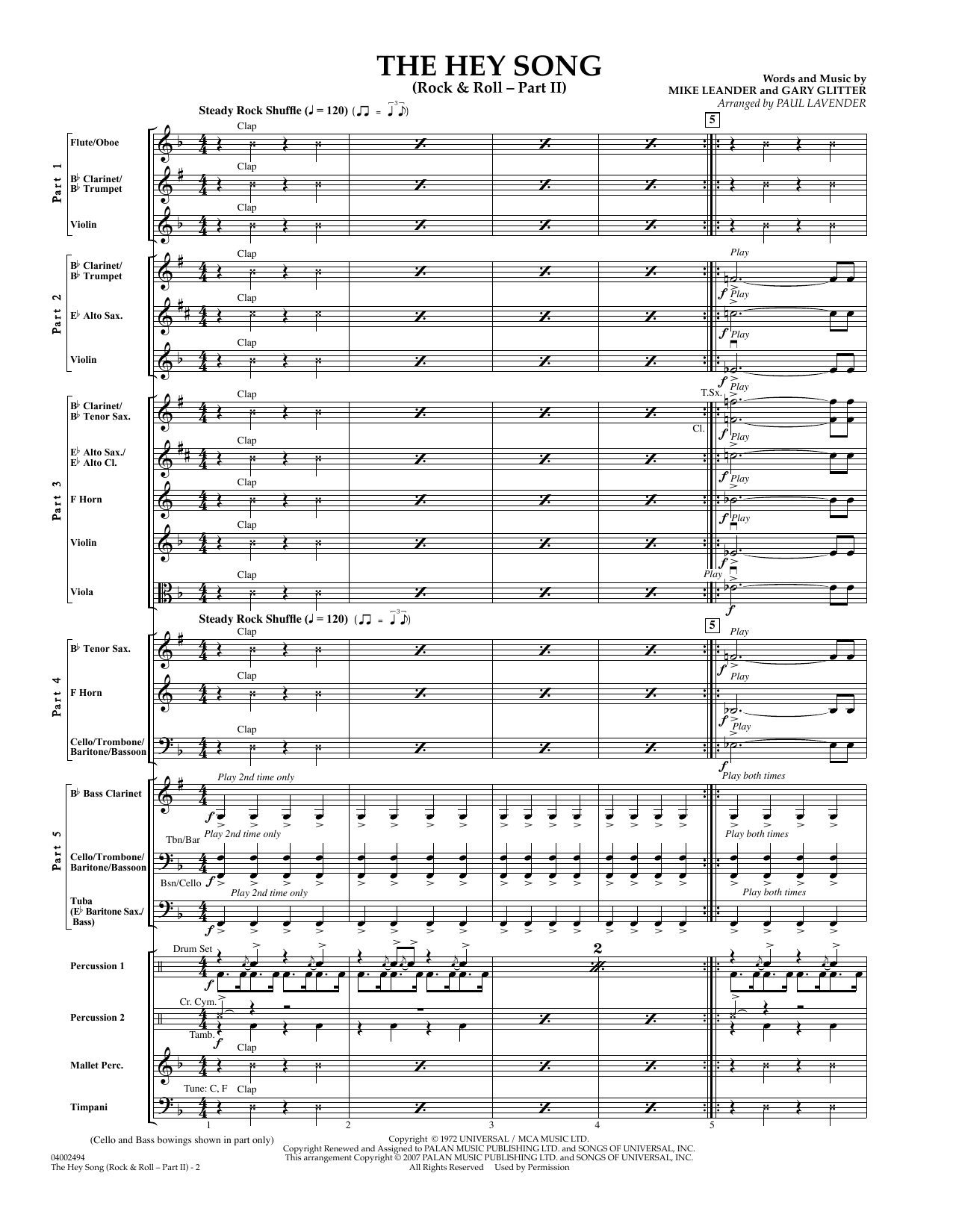 The Hey Song (Rock and Roll-part II) (Flex-Band) (COMPLETE) sheet music for concert band by Paul Lavender and Gary Glitter. Score Image Preview.