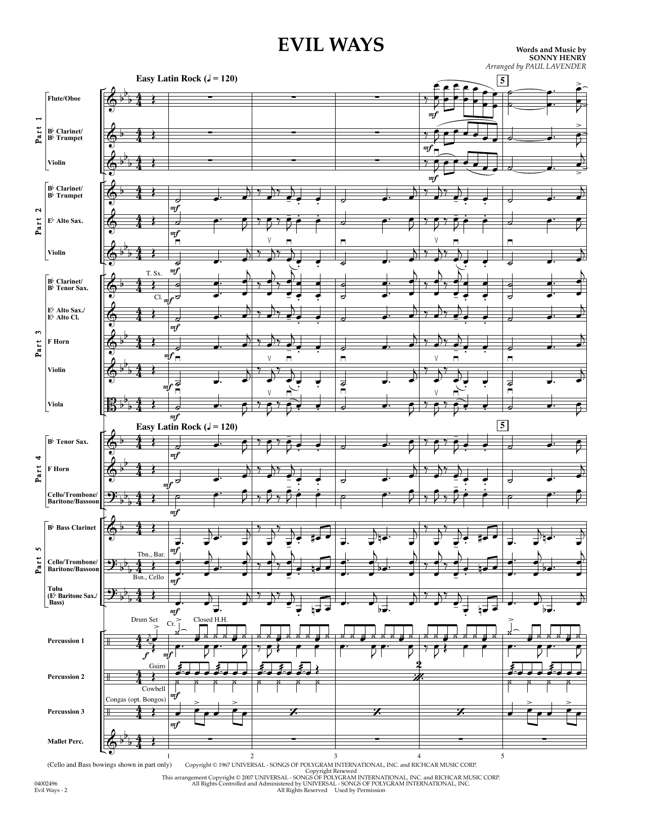 Evil Ways (Flex-Band) (COMPLETE) sheet music for concert band by Sonny Henry, Carlos Santana and Paul Lavender. Score Image Preview.