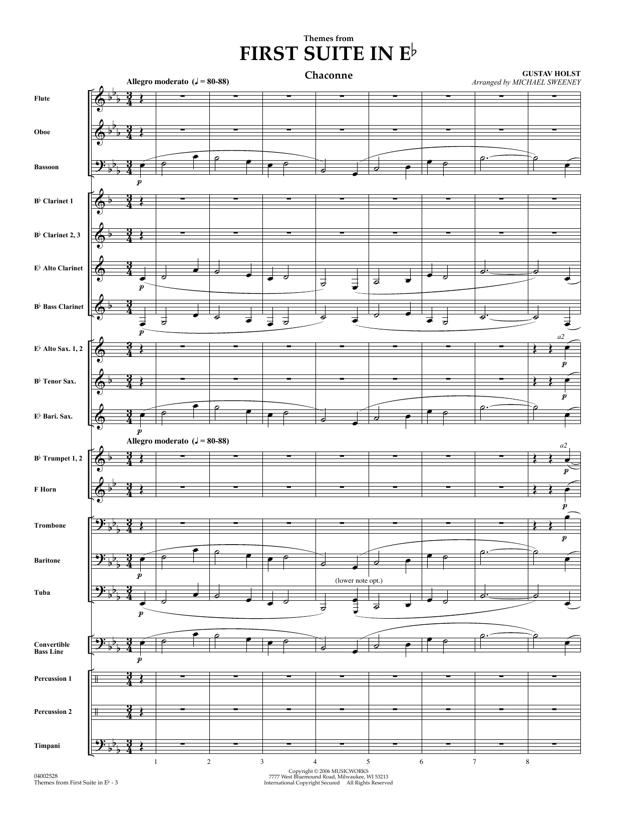 First Suite In E Flat, Themes From (COMPLETE) sheet music for concert band by Michael Sweeney and Gustav Holst. Score Image Preview.
