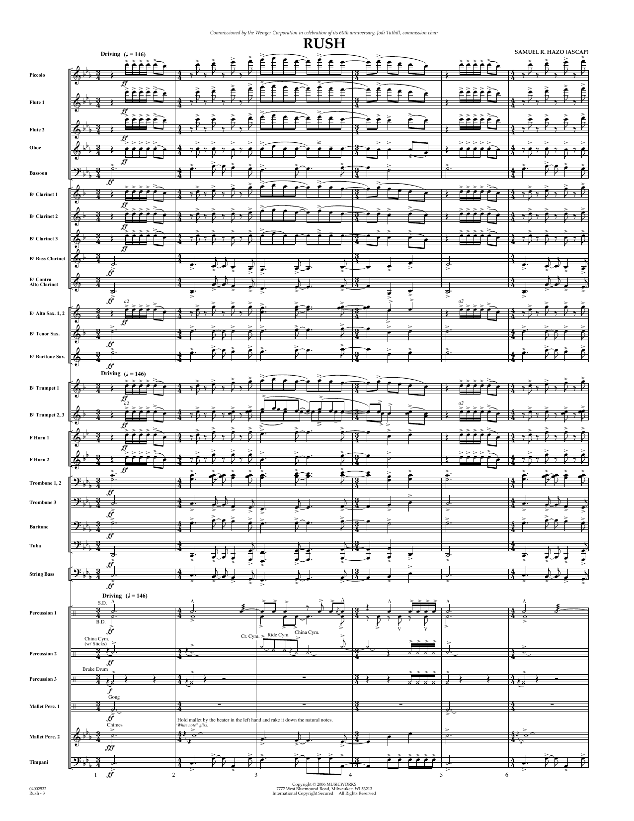 Rush (COMPLETE) sheet music for concert band by Samuel R. Hazo. Score Image Preview.
