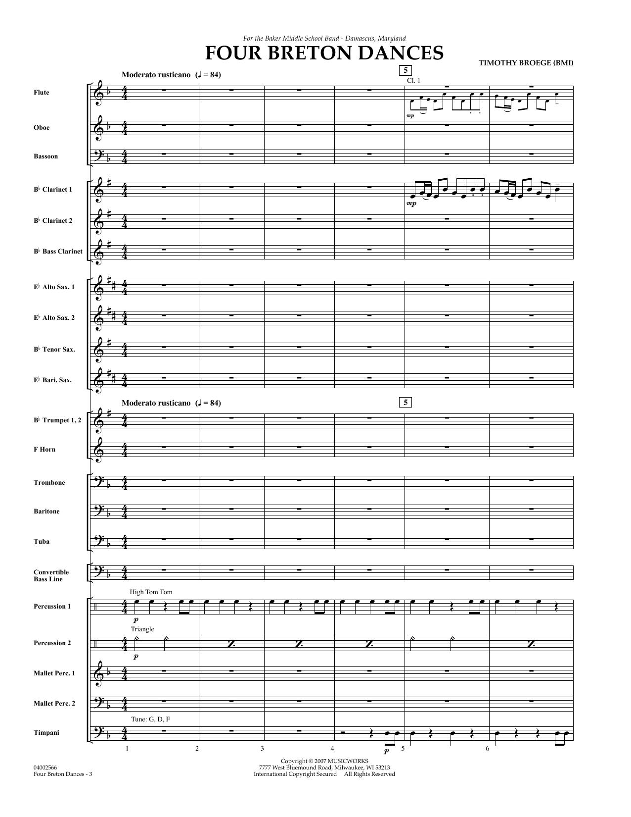 Four Breton Dances - Full Score (Concert Band)