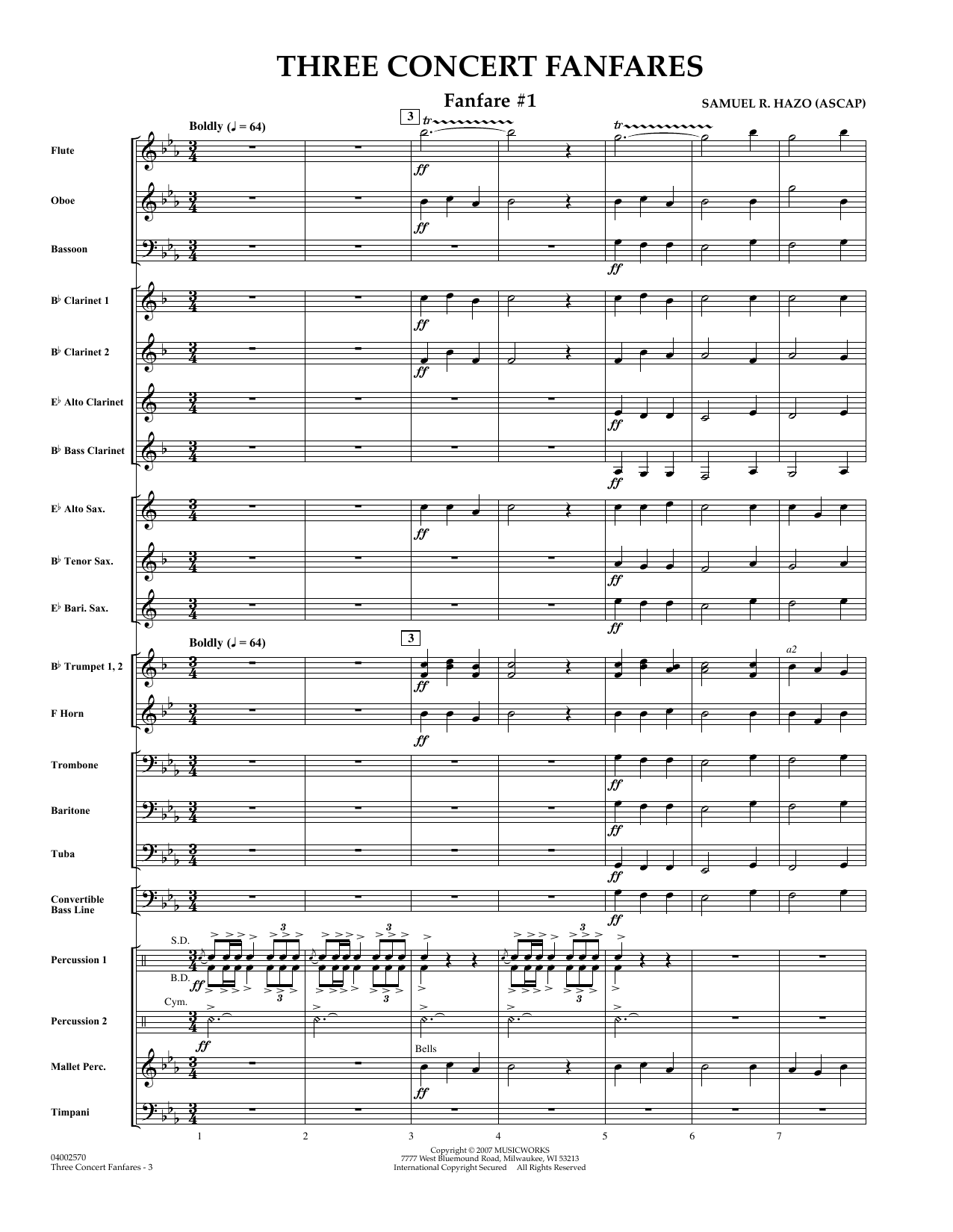 Three Concert Fanfares (COMPLETE) sheet music for concert band by Samuel R. Hazo. Score Image Preview.