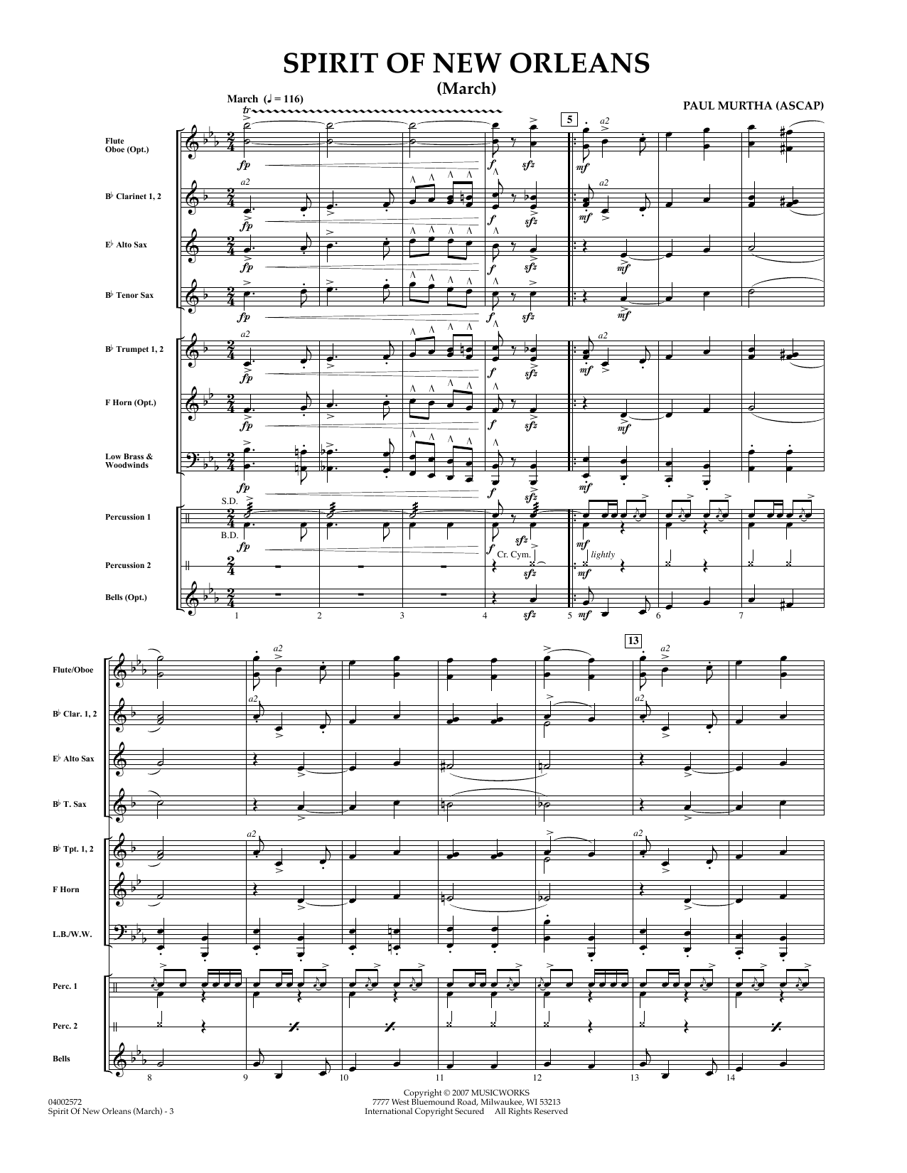 Spirit Of New Orleans (March) (COMPLETE) sheet music for concert band by Paul Murtha. Score Image Preview.
