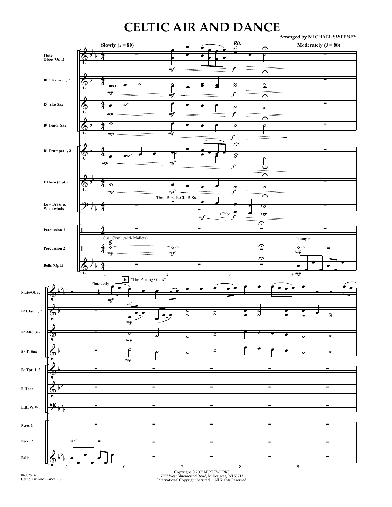 Celtic Air and Dance (COMPLETE) sheet music for concert band by Michael Sweeney. Score Image Preview.