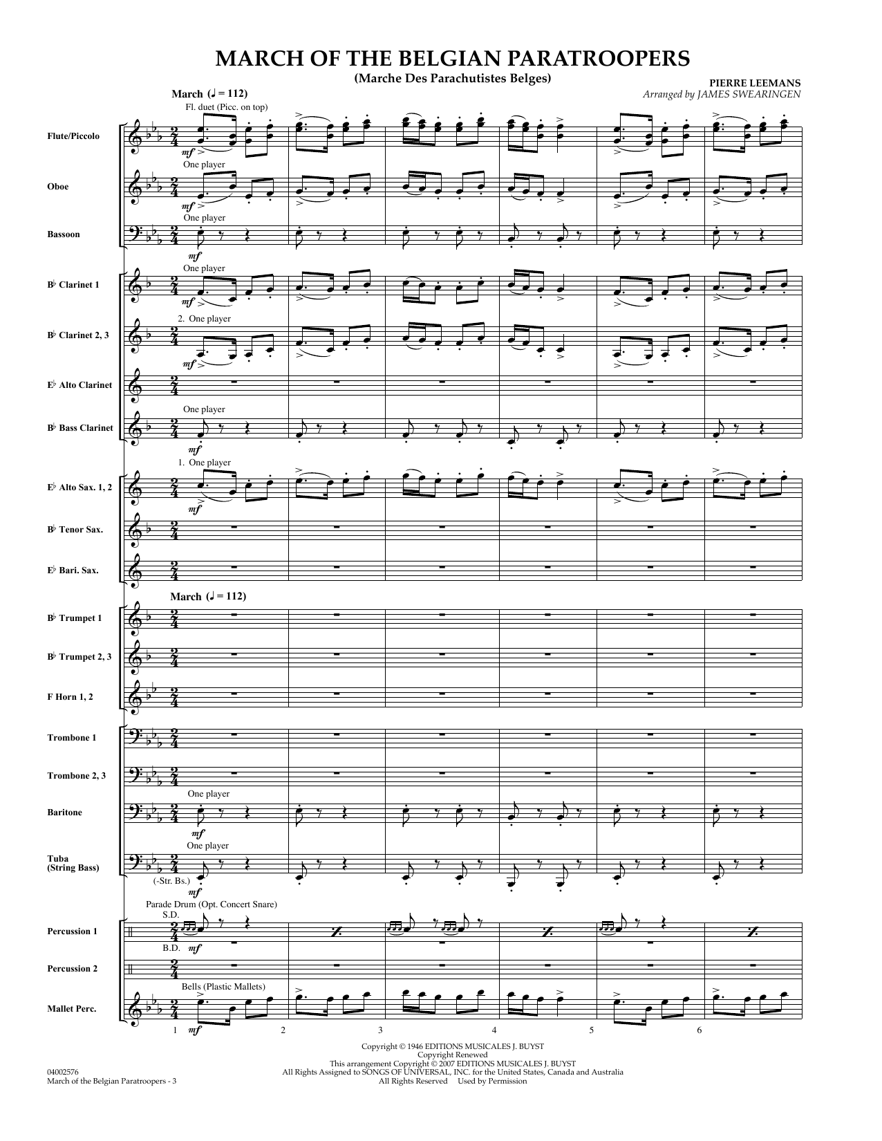 March Of The Belgian Paratroopers (COMPLETE) sheet music for concert band by Pierre Leemans and James Swearingen. Score Image Preview.