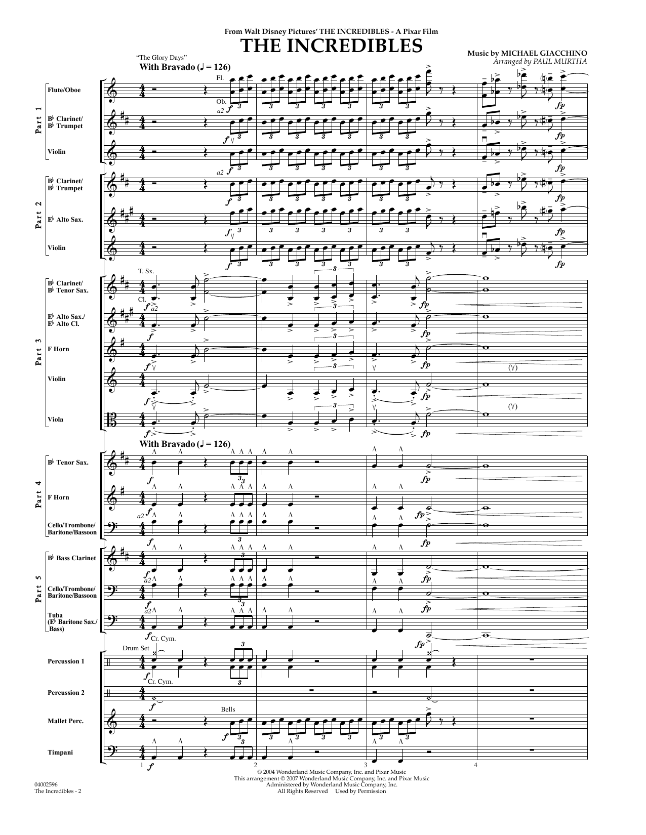 The Incredibles (COMPLETE) sheet music for concert band by Michael Giacchino and Paul Murtha. Score Image Preview.