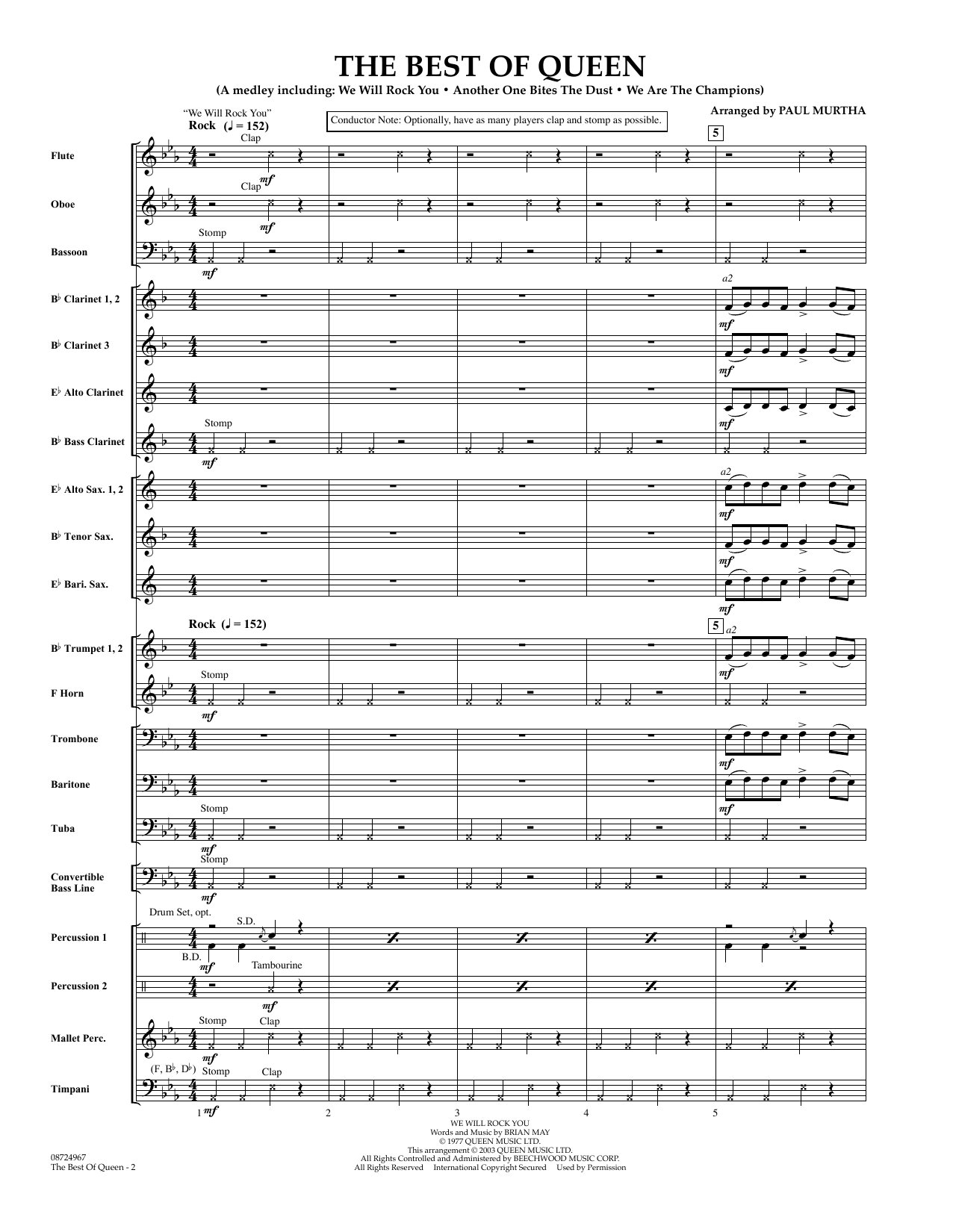 The Best of Queen (COMPLETE) sheet music for concert band by Paul Murtha. Score Image Preview.