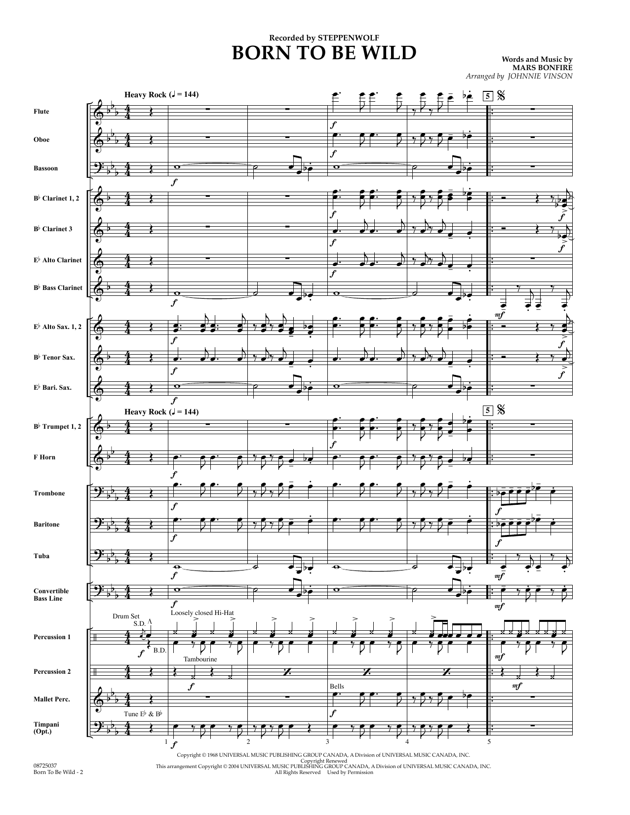 Born to Be Wild (COMPLETE) sheet music for concert band by Johnnie Vinson, Mars Bonfire and Steppenwolf. Score Image Preview.