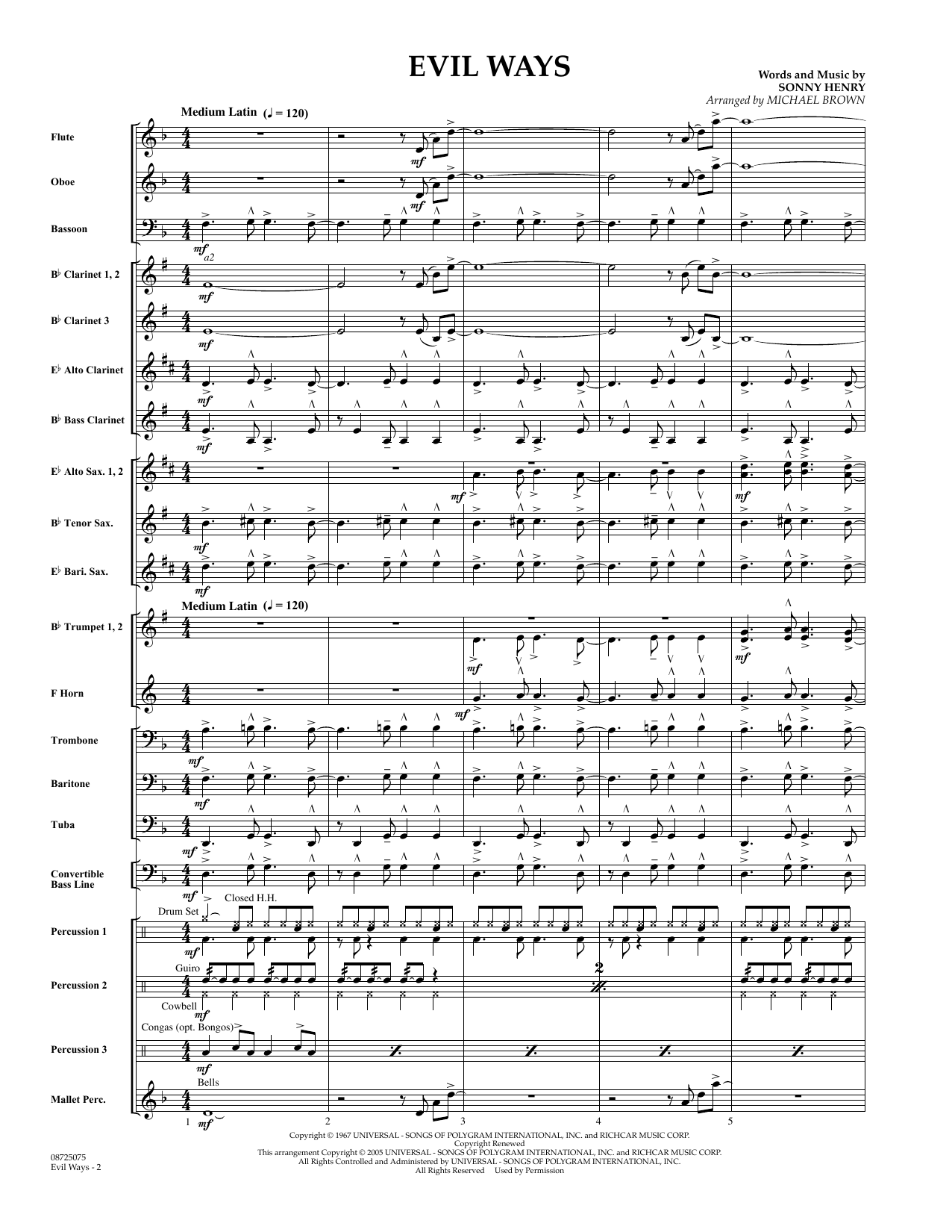 Evil Ways (COMPLETE) sheet music for concert band by Sonny Henry, Carlos Santana and Michael Brown. Score Image Preview.