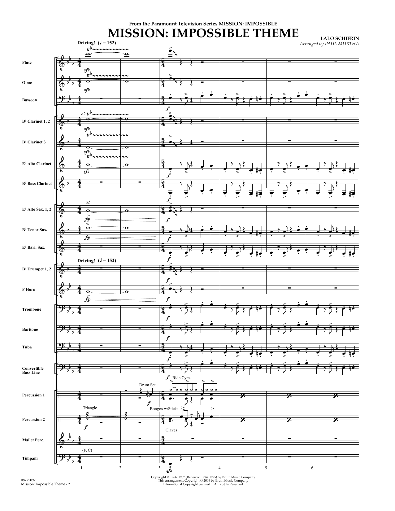 Mission: Impossible Theme (COMPLETE) sheet music for concert band by Paul Murtha, Adam Clayton and Larry Mullen and Lalo Schifrin. Score Image Preview.