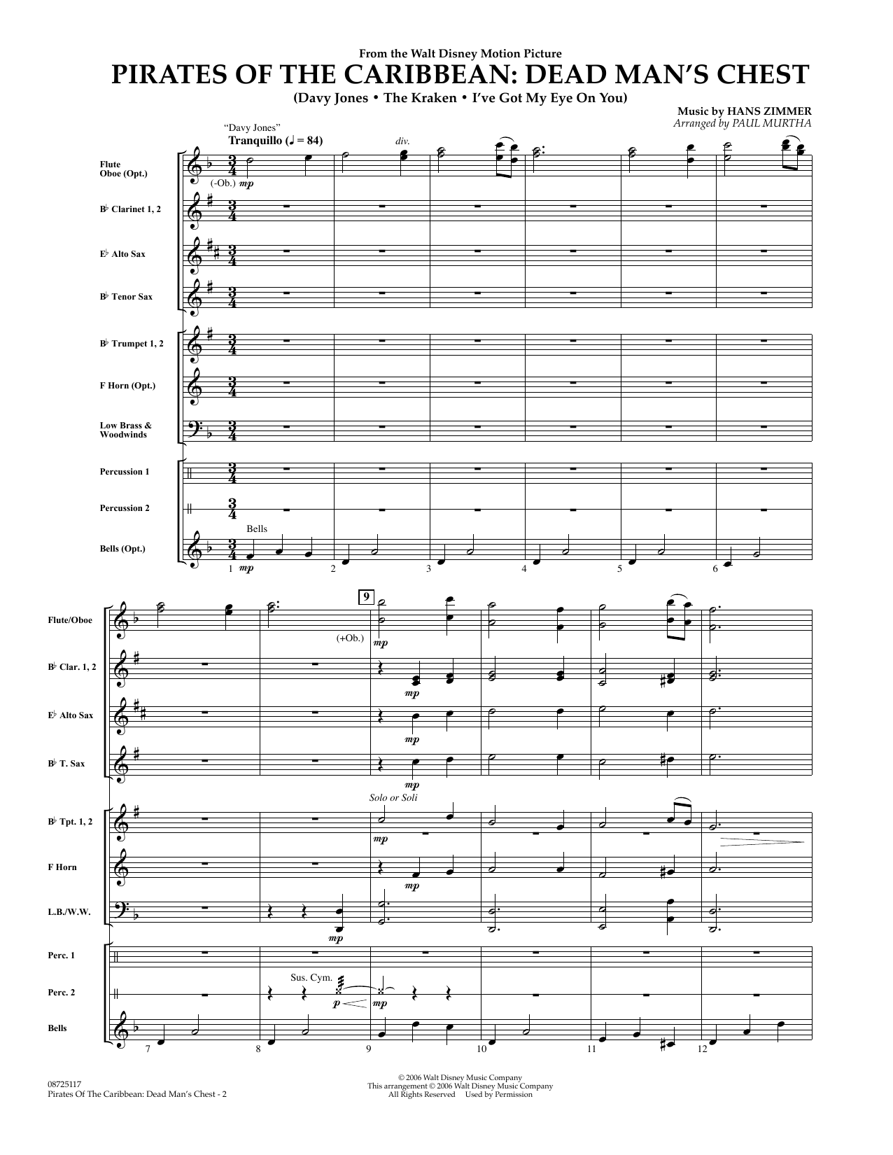 Pirates of the Caribbean: Dead Man's Chest (COMPLETE) sheet music for concert band by Hans Zimmer and Paul Murtha. Score Image Preview.