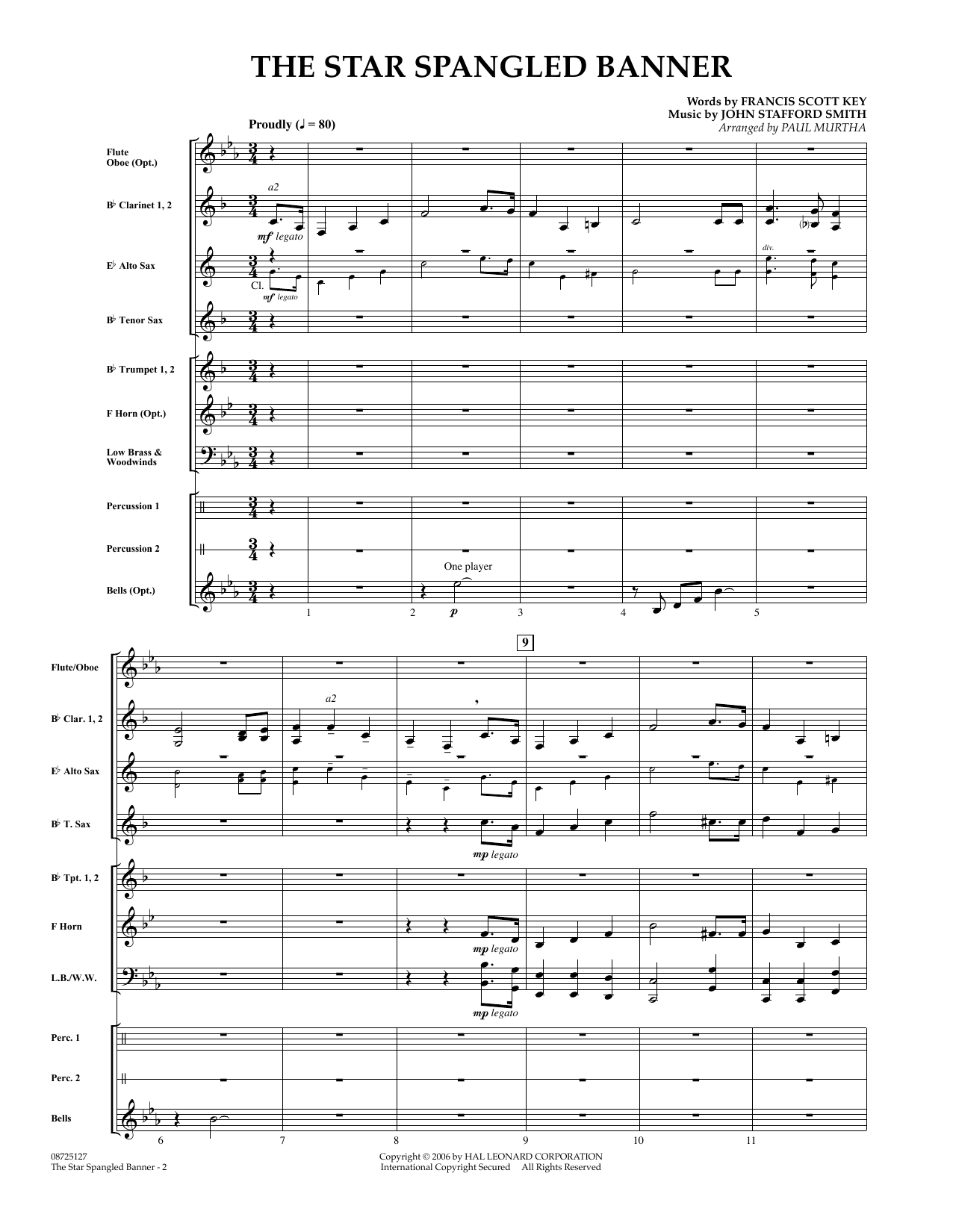 The Star Spangled Banner (COMPLETE) sheet music for concert band by Paul Murtha, Francis Scott Key and John Stafford Smith. Score Image Preview.