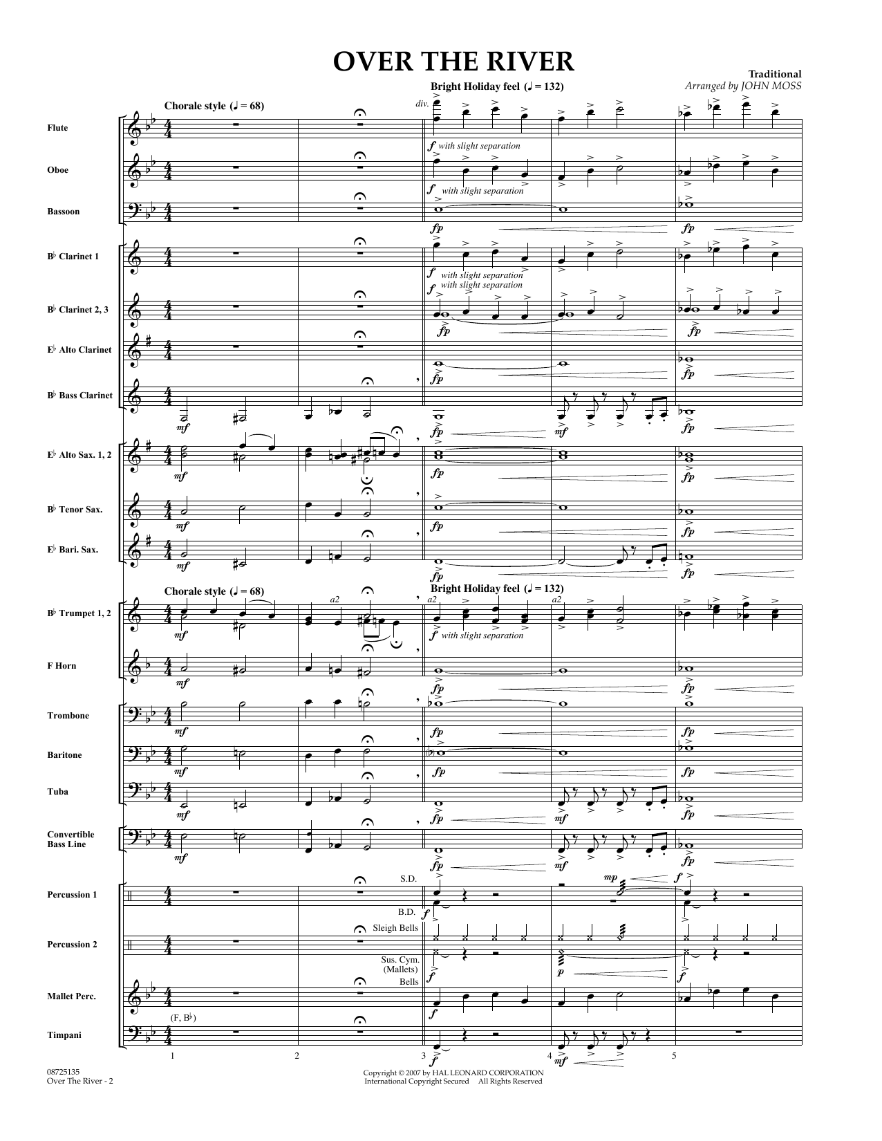 Over the River (COMPLETE) sheet music for concert band by John Moss. Score Image Preview.