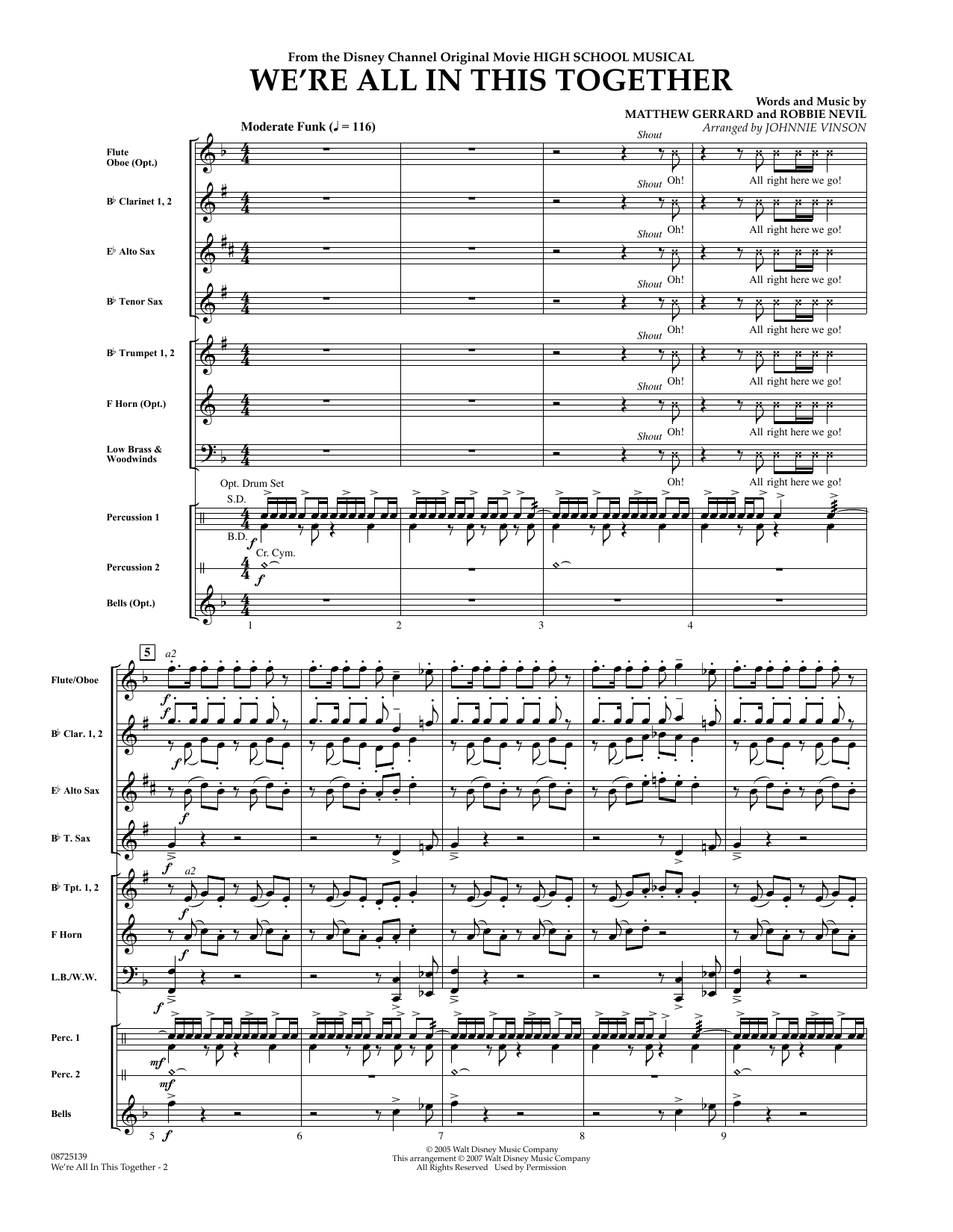 We're All In This Together (from High School Musical) (COMPLETE) sheet music for concert band by High School Musical Cast, Johnnie Vinson, Matthew Gerrard and Robbie Nevil. Score Image Preview.