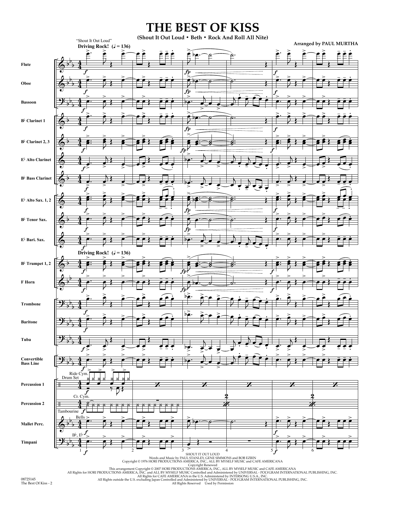 The Best of Kiss (COMPLETE) sheet music for concert band by Paul Murtha. Score Image Preview.
