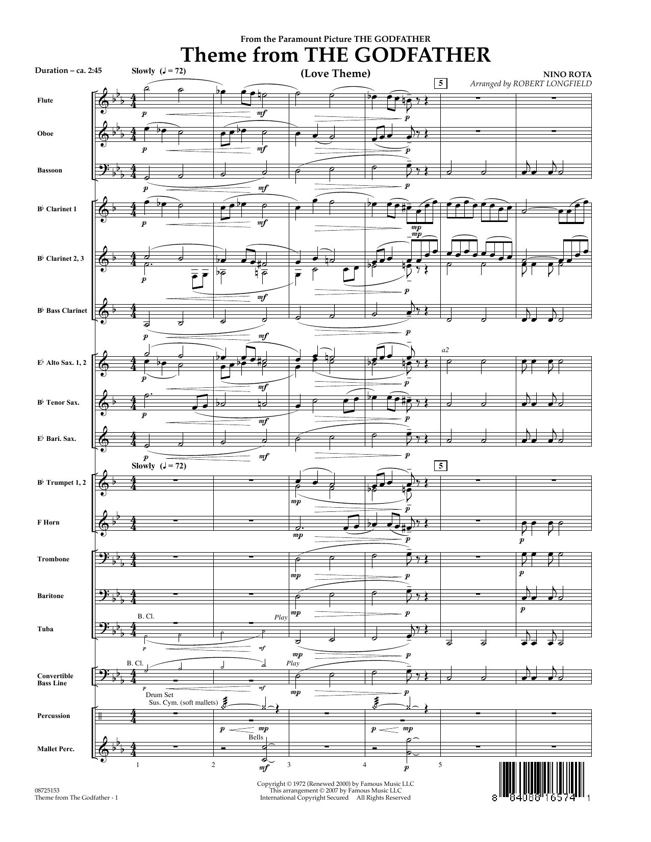Theme From The Godfather - Full Score (Concert Band)
