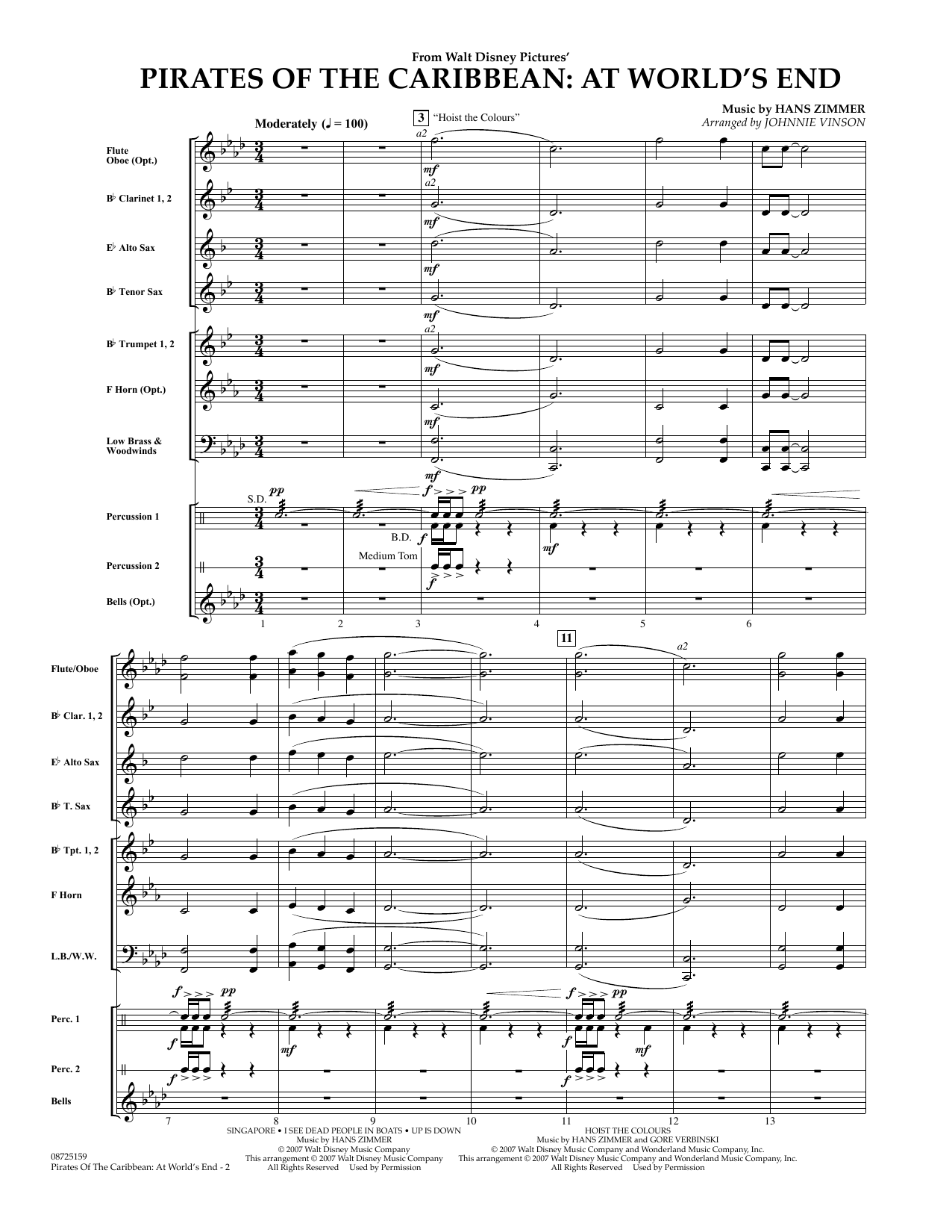 Pirates Of The Caribbean: At World's End (COMPLETE) sheet music for concert band by Hans Zimmer and Johnnie Vinson. Score Image Preview.
