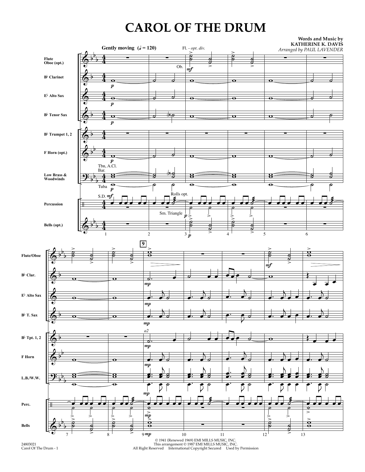 Carol of the Drum (COMPLETE) sheet music for concert band by Paul Lavender and Katherine Davis. Score Image Preview.