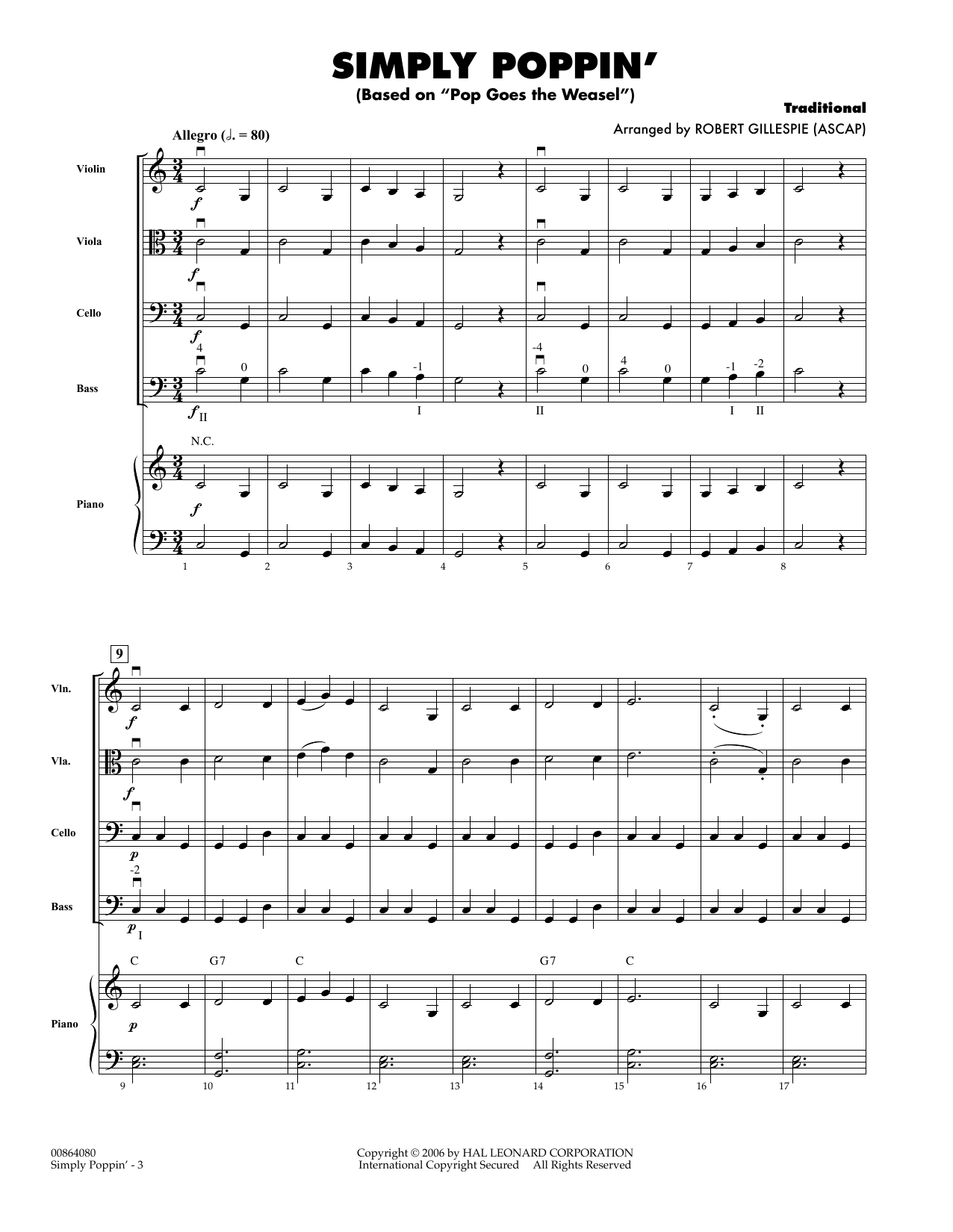 Simply Poppin' (Based On Pop Goes The Weasel) (COMPLETE) sheet music for orchestra by Robert Gillespie. Score Image Preview.