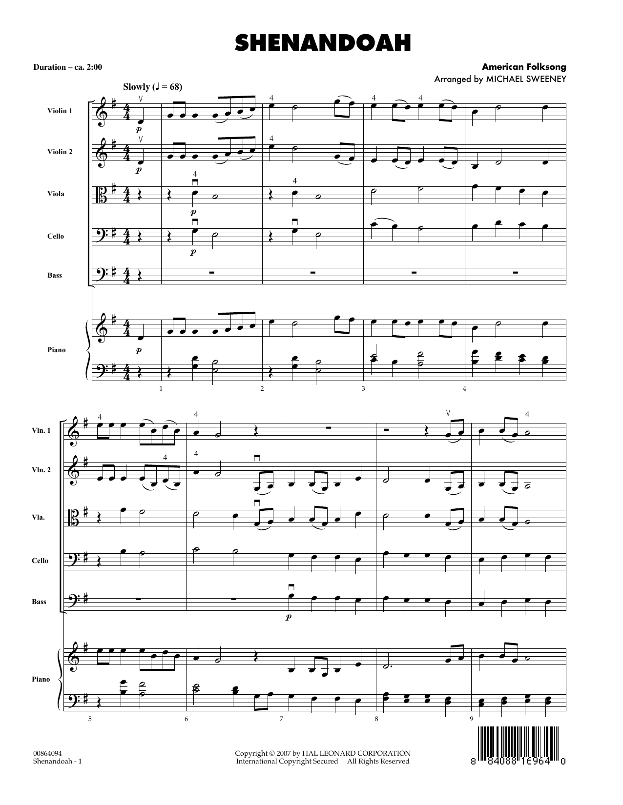 Shenandoah (COMPLETE) sheet music for orchestra by American Folksong and Michael Sweeney. Score Image Preview.