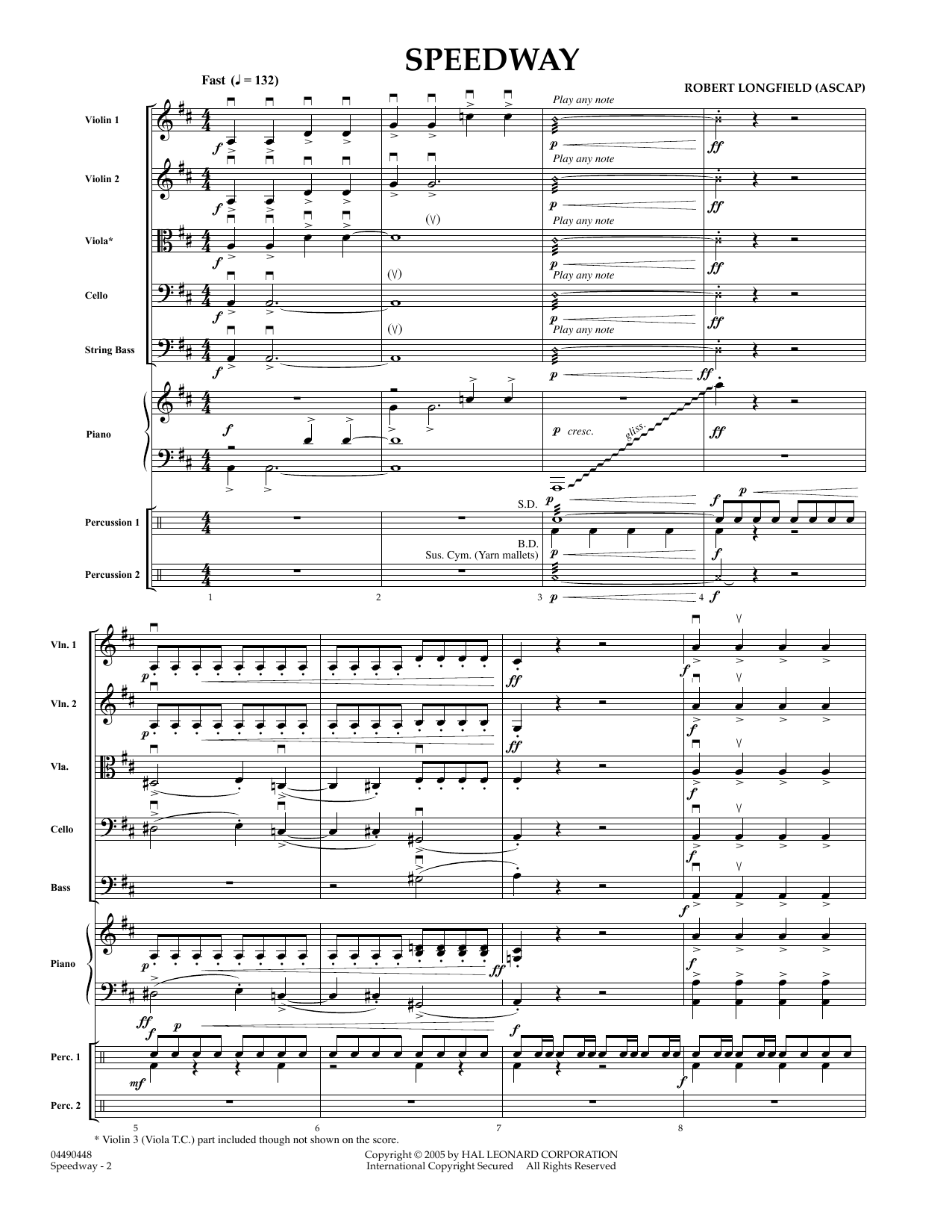 Speedway (COMPLETE) sheet music for orchestra by Robert Longfield. Score Image Preview.