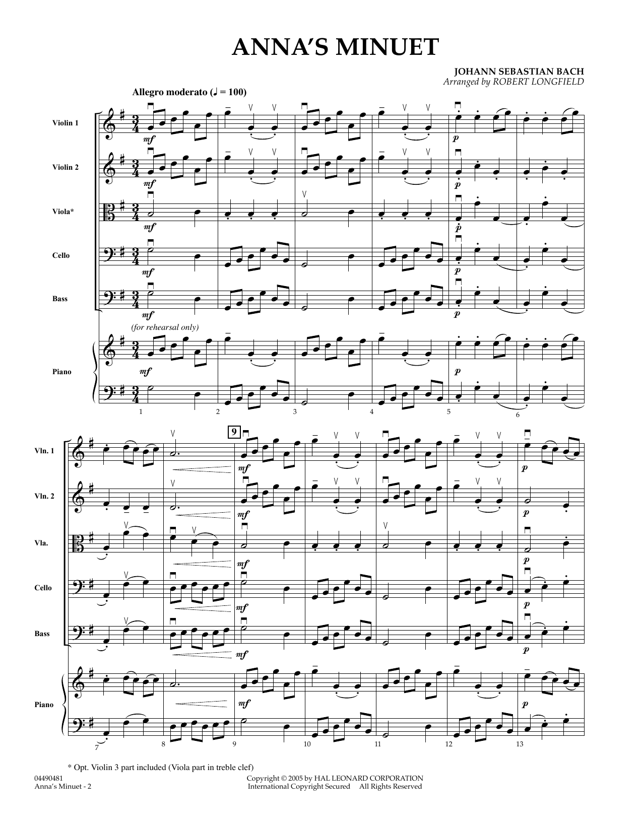 Anna's Minuet (COMPLETE) sheet music for orchestra by Robert Longfield and Johann Sebastian Bach. Score Image Preview.