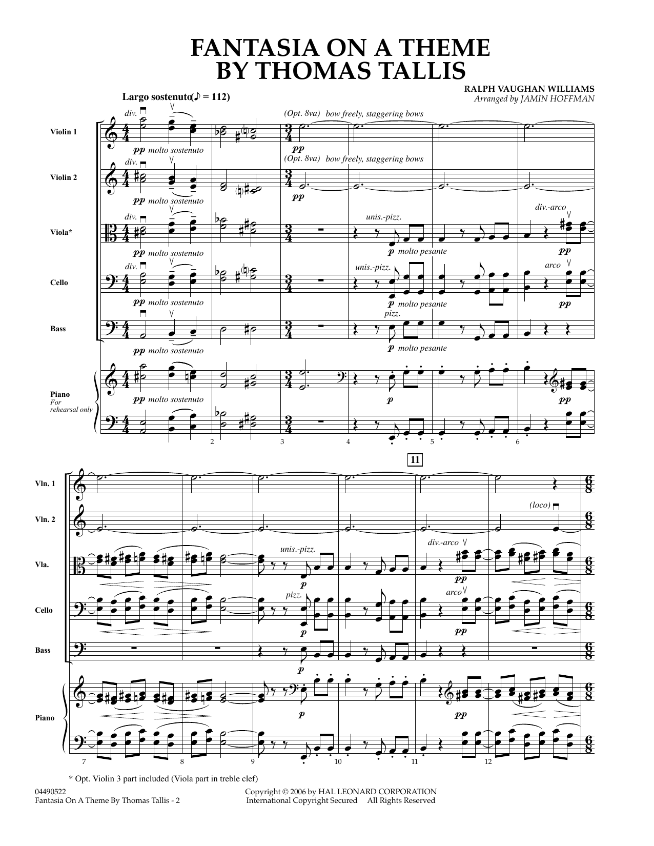 Fantasia on a Theme by Thomas Tallis (COMPLETE) sheet music for orchestra by Vaughan Williams, Jamin Hoffman and Ralph Vaughan Williams. Score Image Preview.