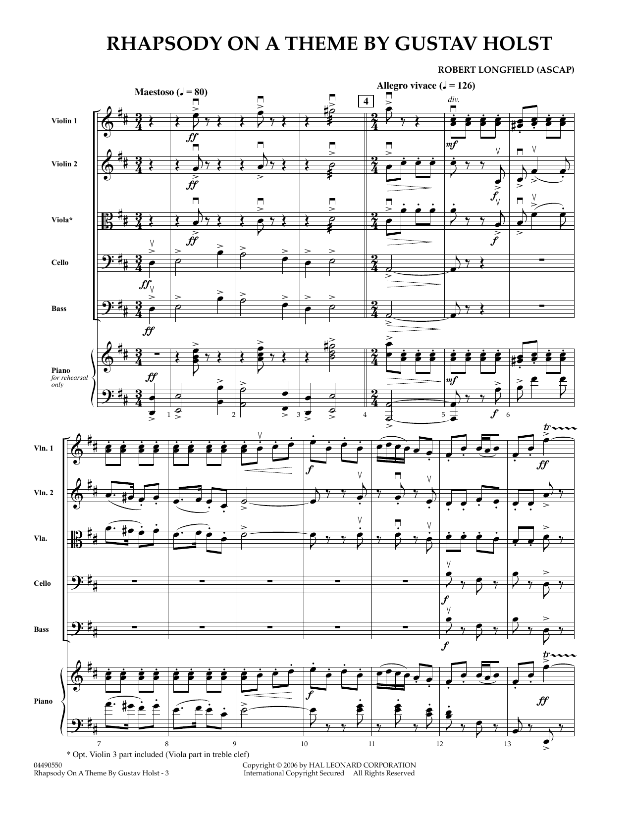 Rhapsody On A Theme by Gustav Holst (COMPLETE) sheet music for orchestra by Gustav Holst and Robert Longfield. Score Image Preview.