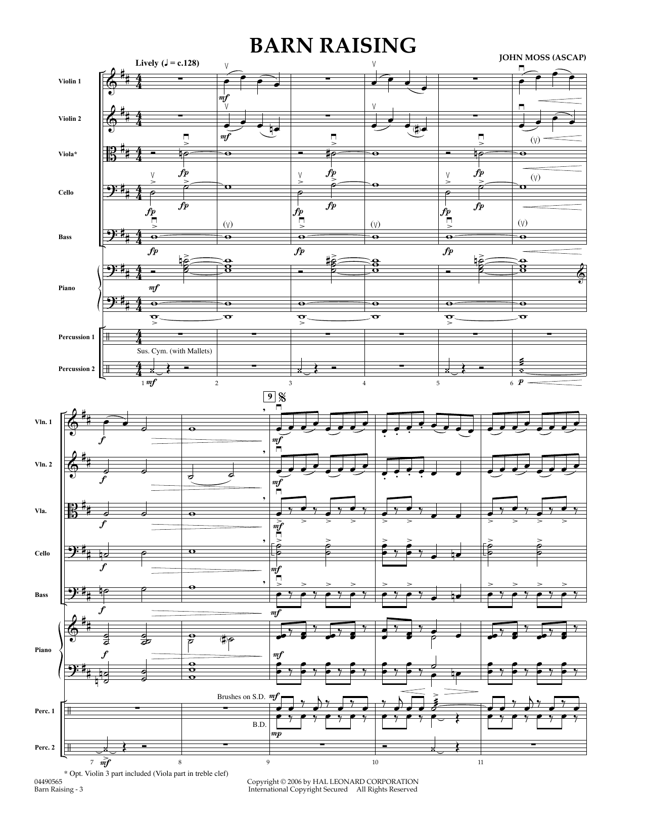 Barn Raising (COMPLETE) sheet music for orchestra by John Moss. Score Image Preview.