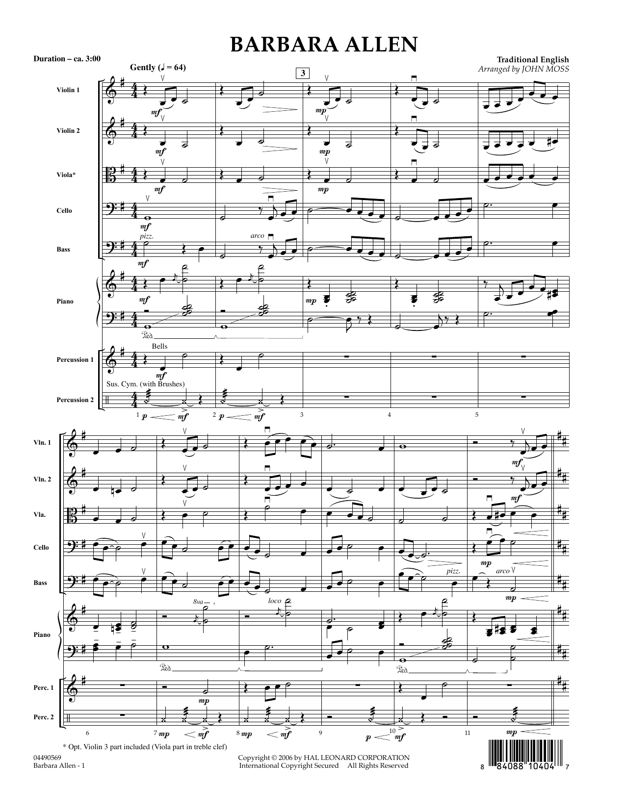 Barbara Allen (COMPLETE) sheet music for orchestra by John Moss. Score Image Preview.
