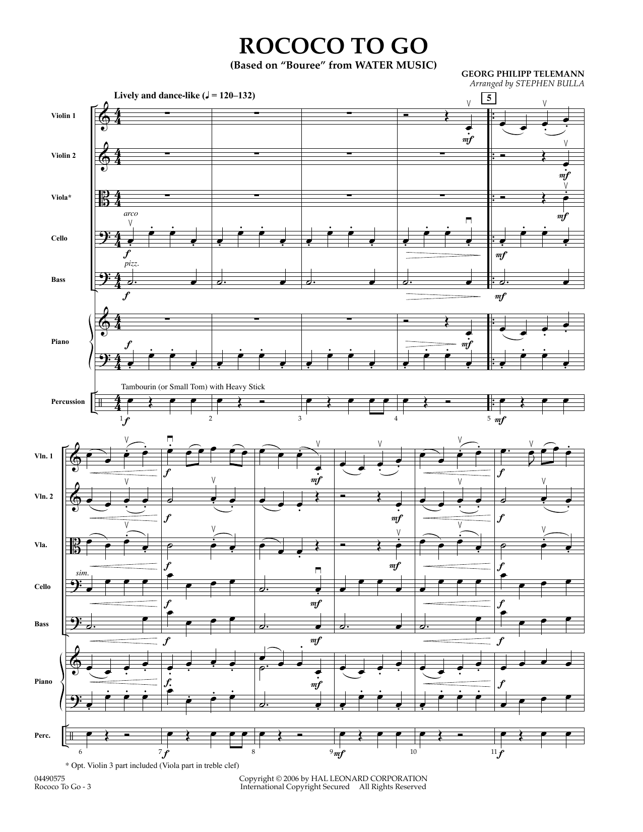 Rococo to Go (COMPLETE) sheet music for orchestra by Stephen Bulla and Georg Philipp Telemann. Score Image Preview.