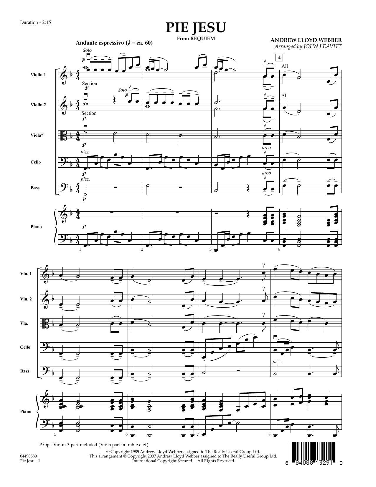 Pie Jesu (from Requiem) (COMPLETE) sheet music for orchestra by Andrew Lloyd Webber, John Leavitt and Sarah Brightman. Score Image Preview.