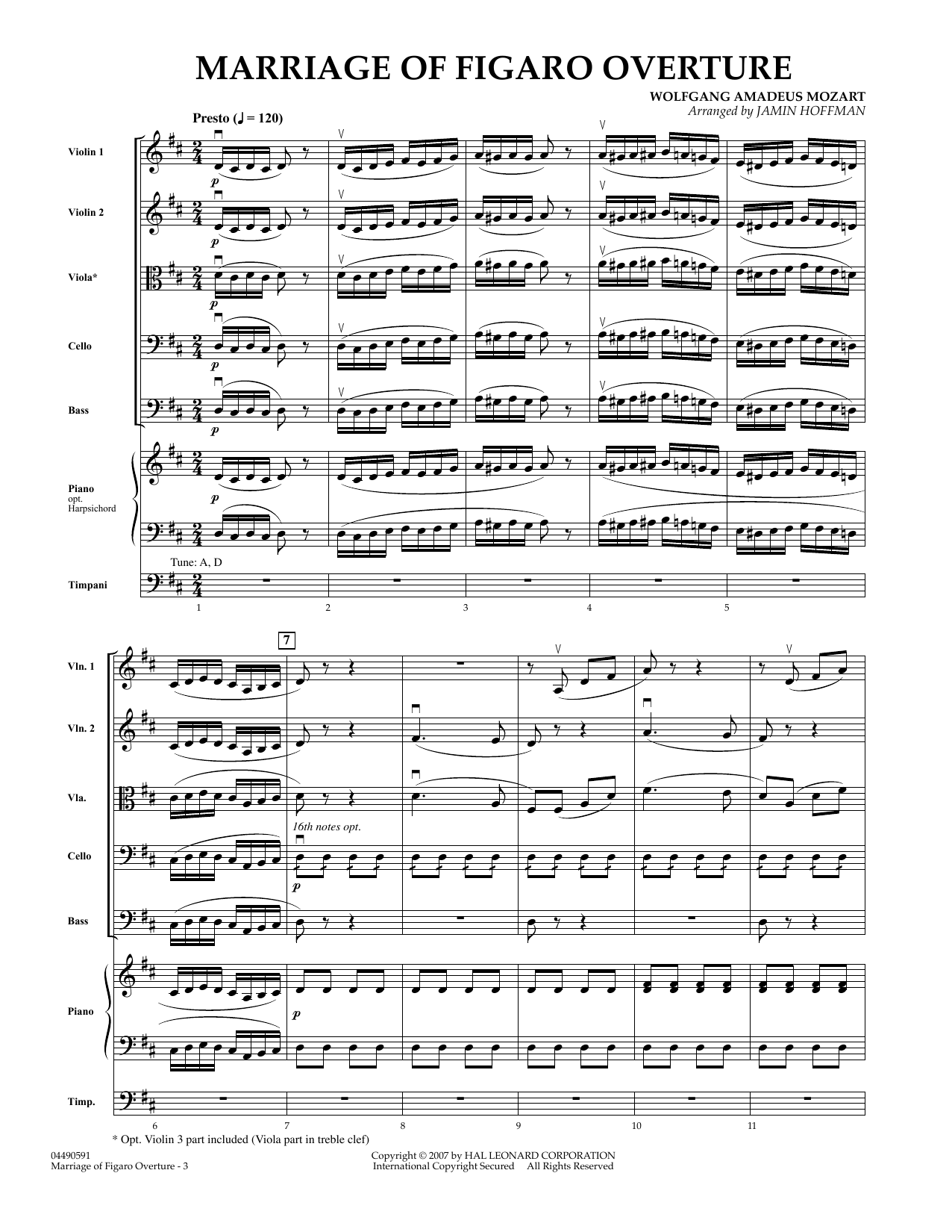 Overture to Marriage of Figaro (COMPLETE) sheet music for orchestra by Jamin Hoffman and Wolfgang Amadeus Mozart. Score Image Preview.