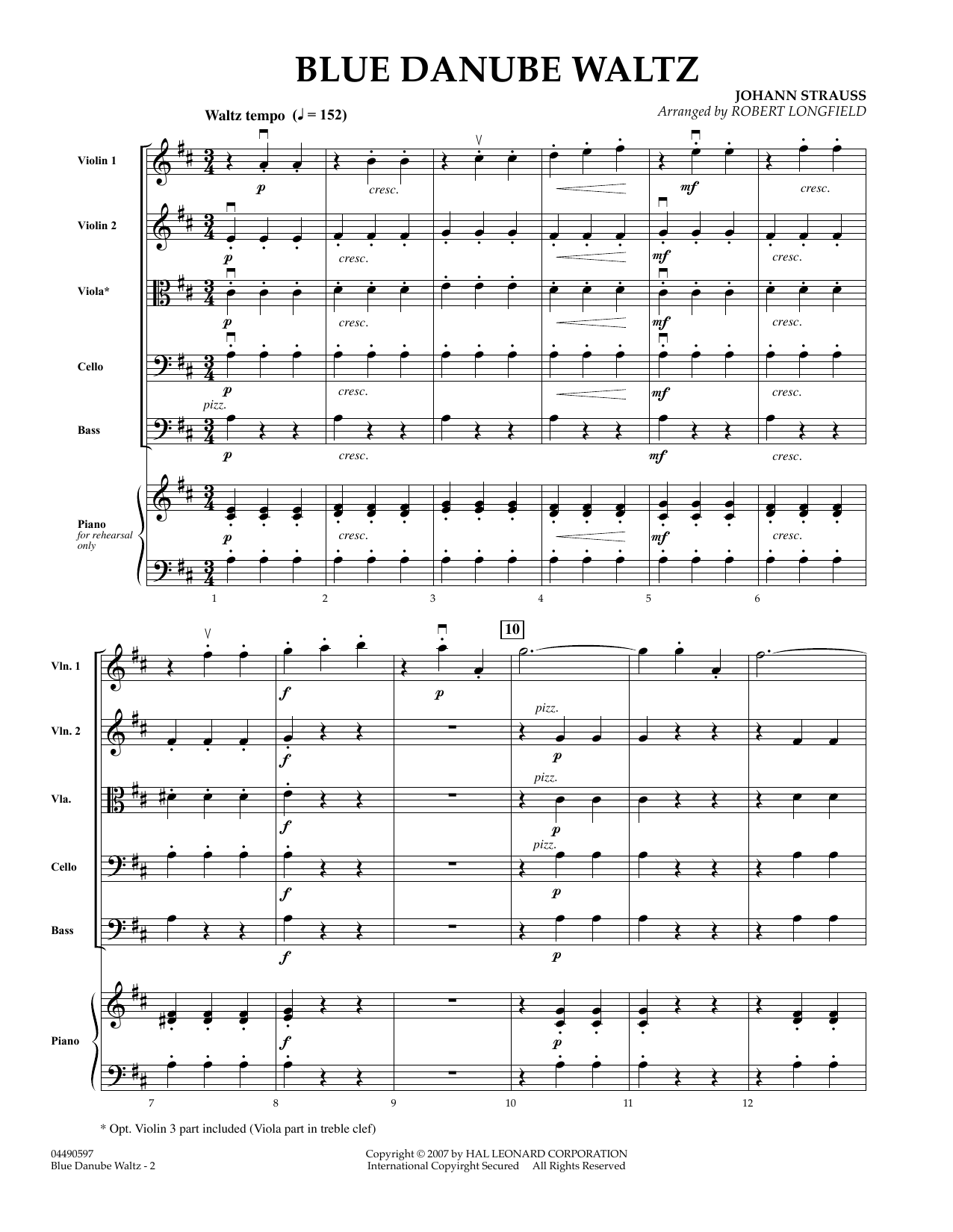 Blue Danube Waltz (COMPLETE) sheet music for orchestra by Robert Longfield and Johann Strauss, Jr.. Score Image Preview.