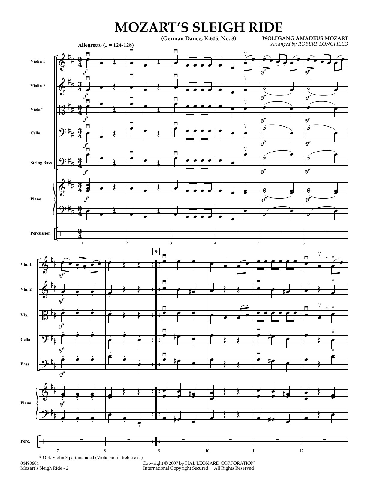 Mozart's Sleigh Ride (German Dance, K.605, No.3) (COMPLETE) sheet music for orchestra by Wolfgang Amadeus Mozart and Robert Longfield. Score Image Preview.