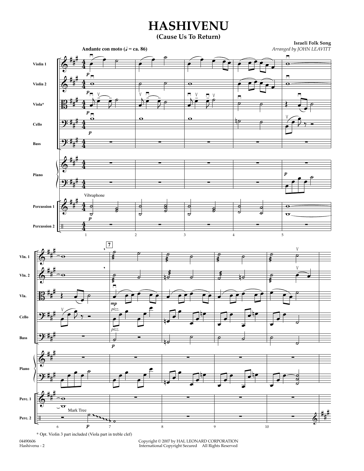 Hashivenu (Cause Us to Return) (COMPLETE) sheet music for orchestra by Israeli Folk Song and John Leavitt. Score Image Preview.