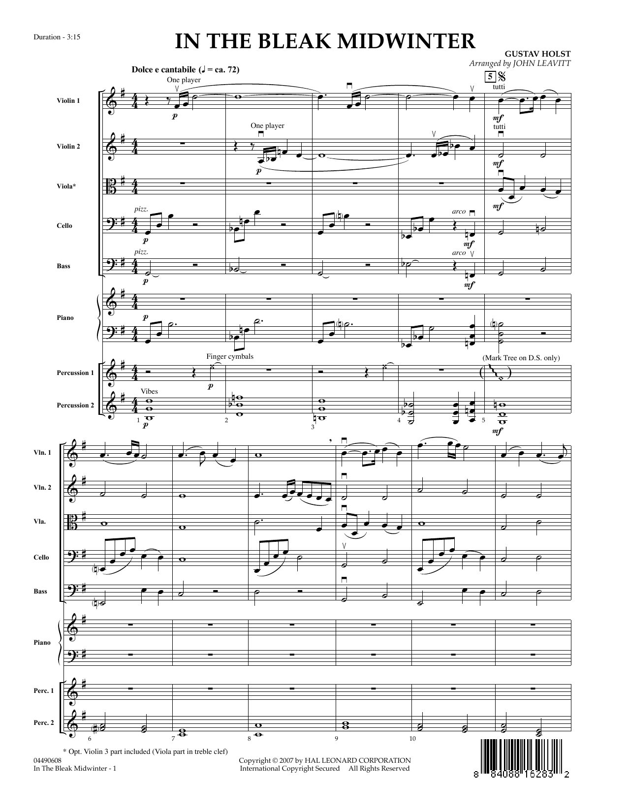 In the Bleak Midwinter (COMPLETE) sheet music for orchestra by John Leavitt, Christina Rossetti and Gustav Holst. Score Image Preview.